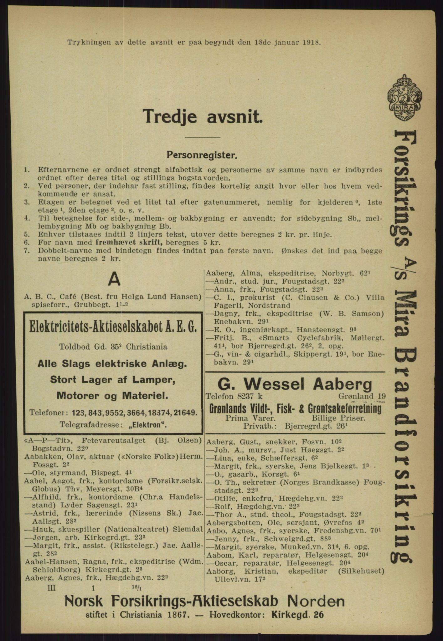 PUBL, Kristiania/Oslo adressebok, 1918, p. 248