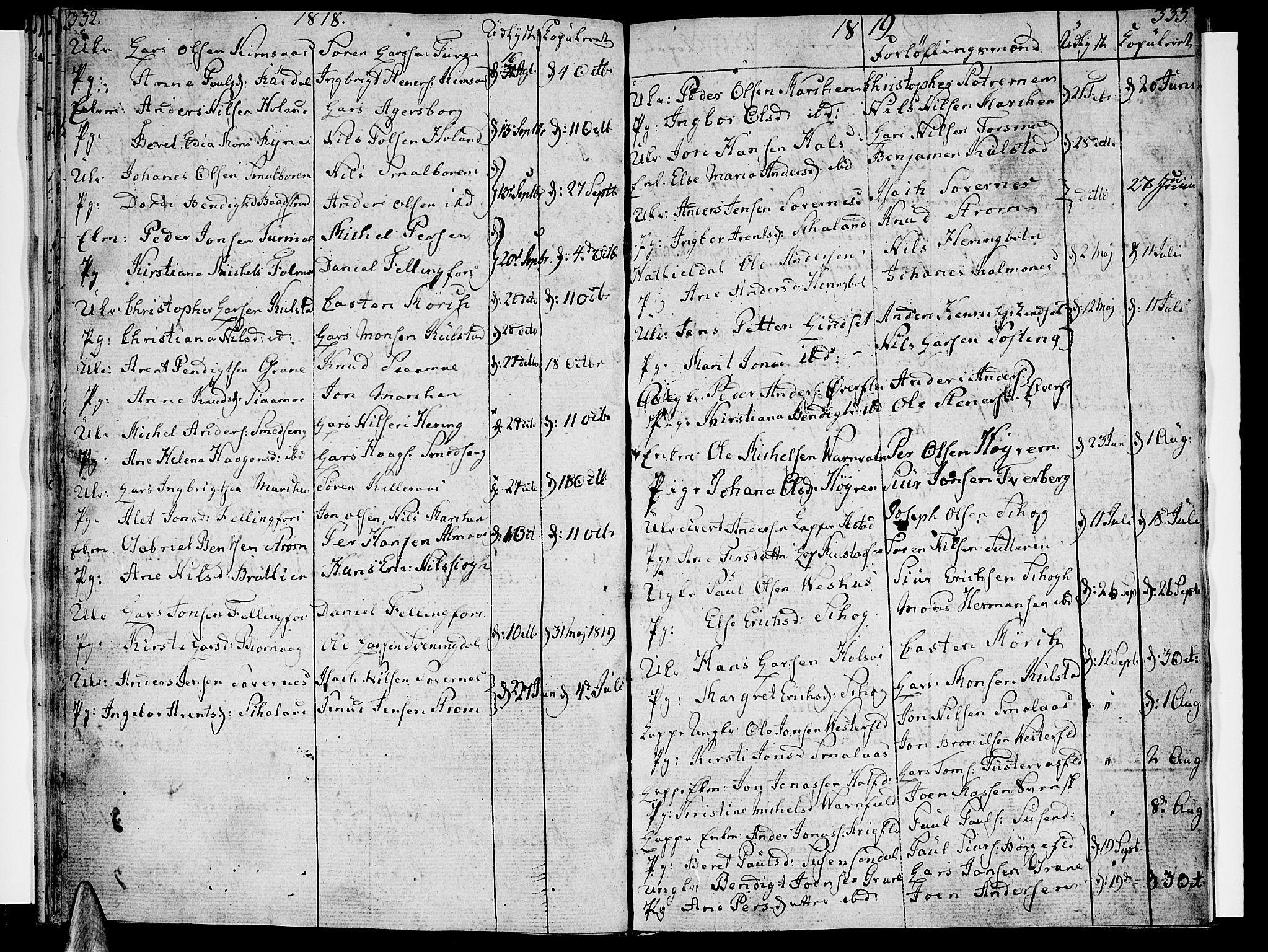 SAT, Ministerialprotokoller, klokkerbøker og fødselsregistre - Nordland, 820/L0287: Parish register (official) no. 820A08, 1800-1819, p. 332-333
