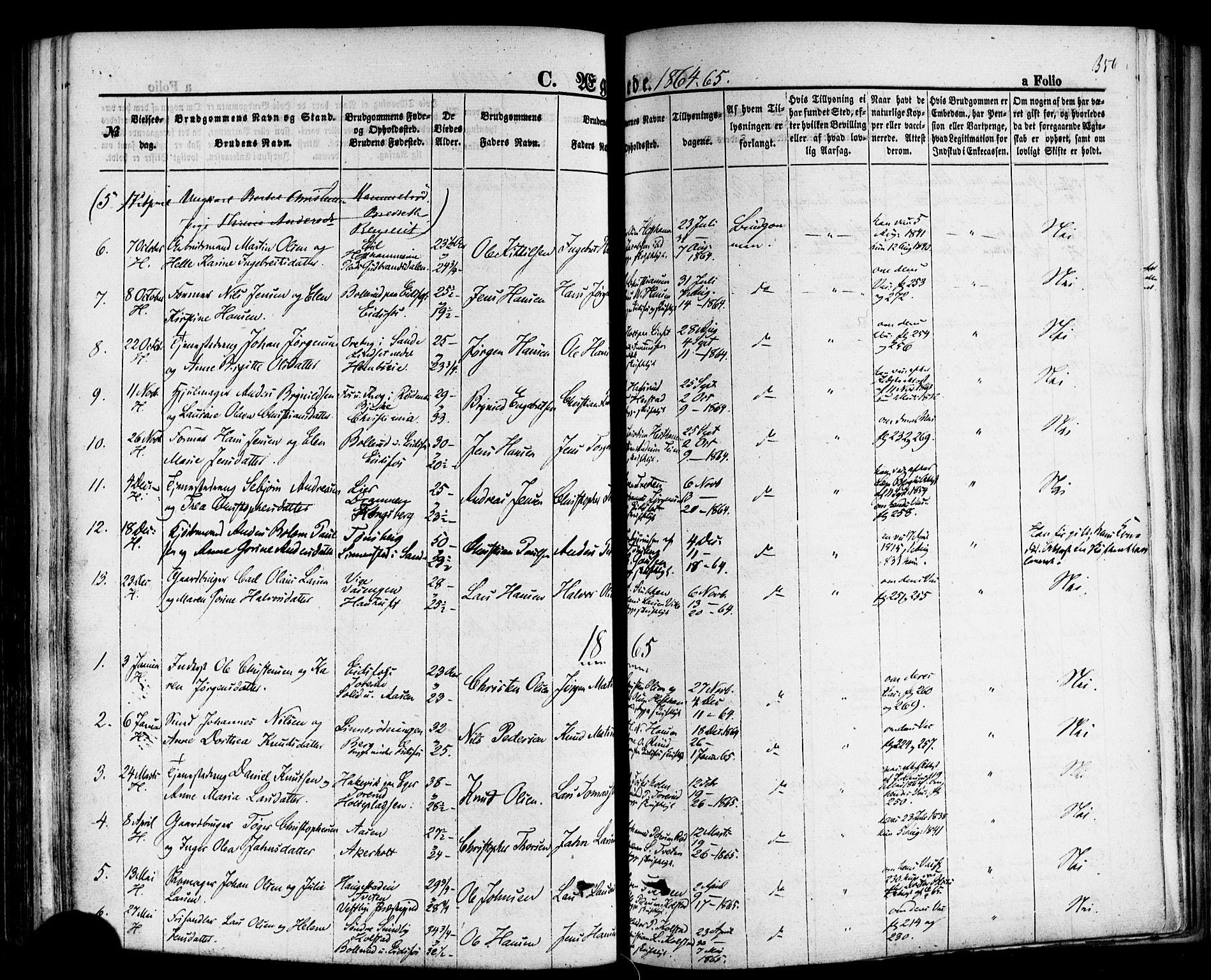 SAKO, Hof kirkebøker, F/Fa/L0006: Parish register (official) no. I 6, 1851-1877, p. 356