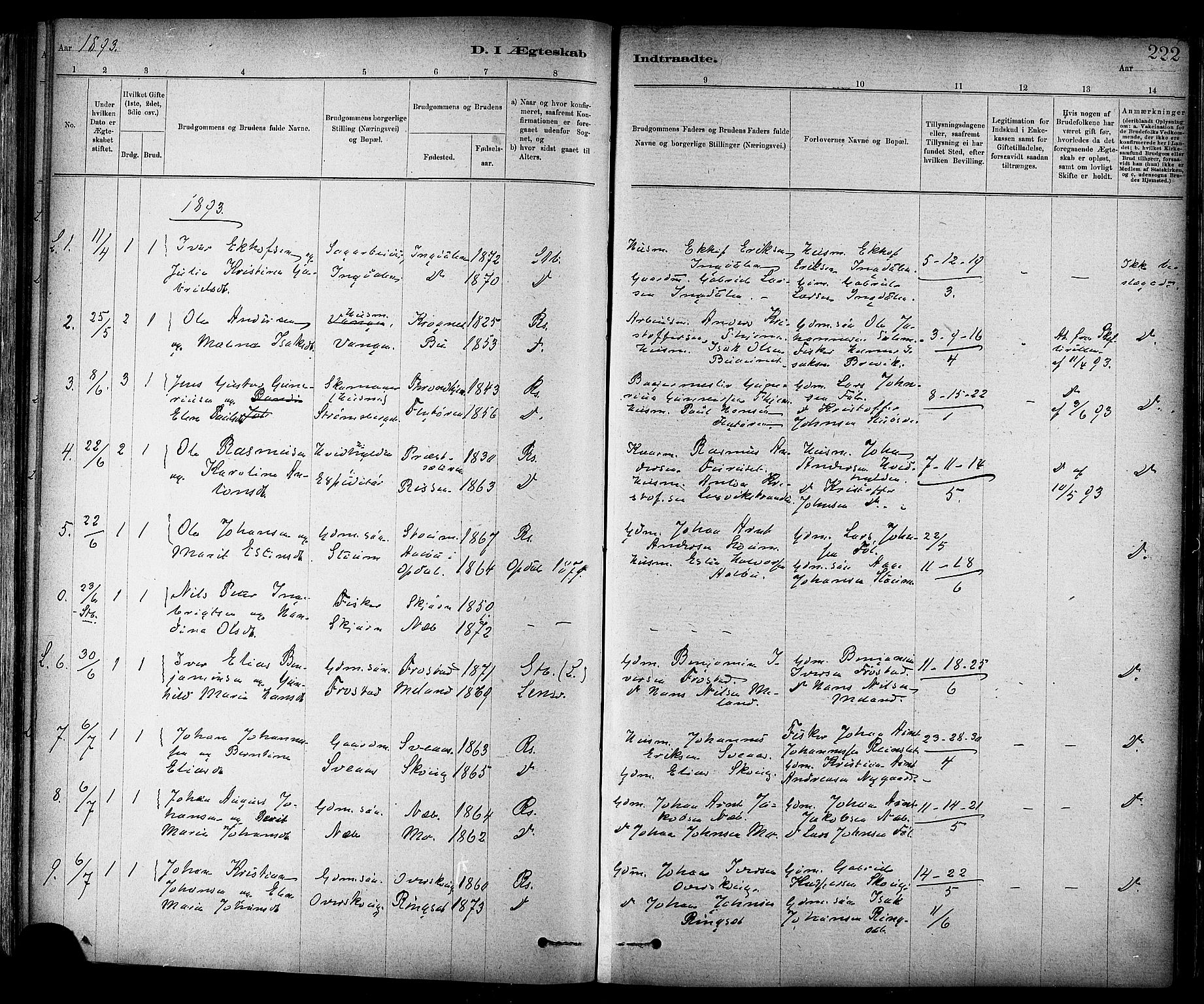 SAT, Ministerialprotokoller, klokkerbøker og fødselsregistre - Sør-Trøndelag, 647/L0634: Parish register (official) no. 647A01, 1885-1896, p. 222