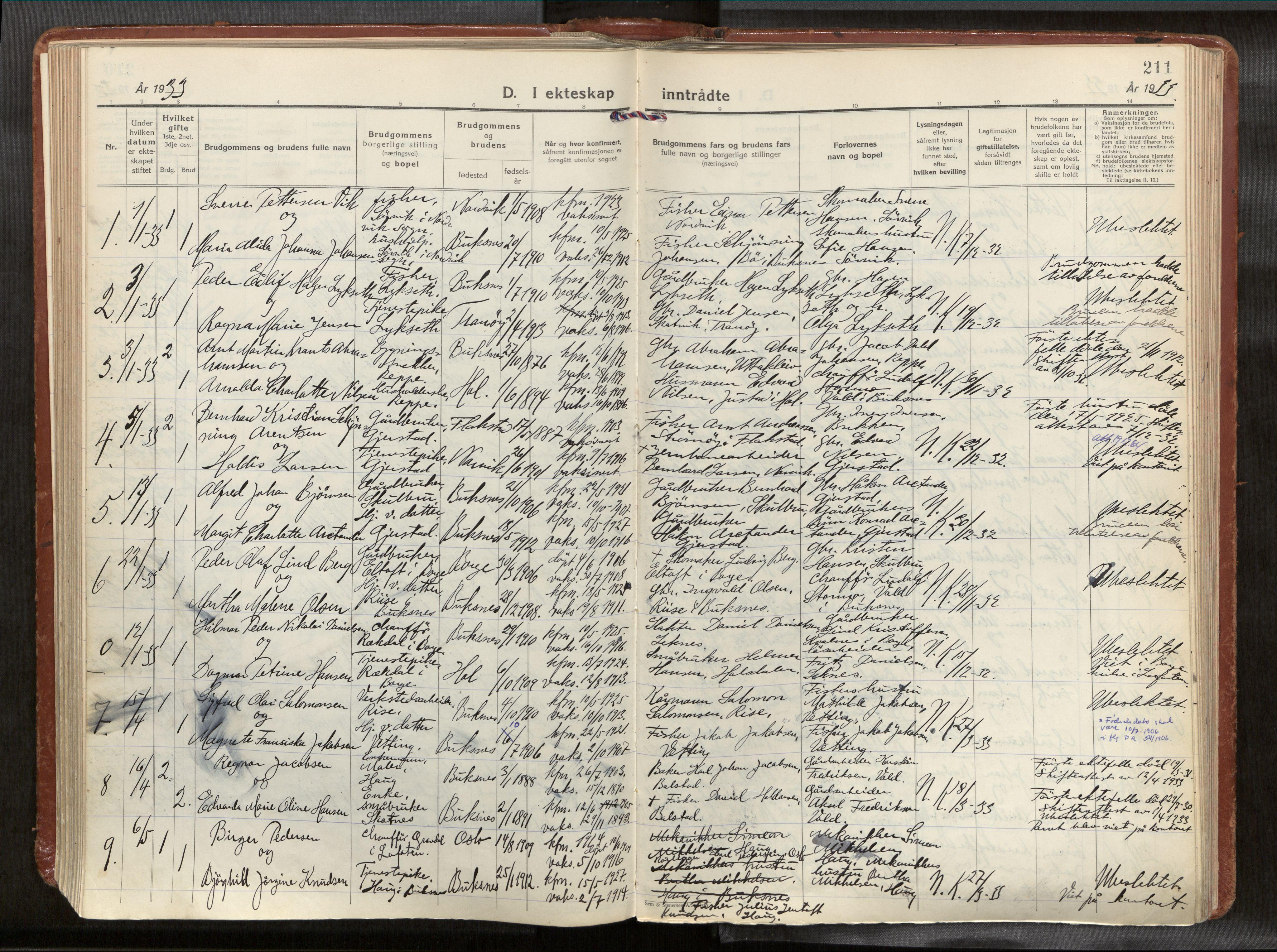 SAT, Ministerialprotokoller, klokkerbøker og fødselsregistre - Nordland, 881/L1161: Parish register (official) no. 881A14, 1932-1955, p. 211