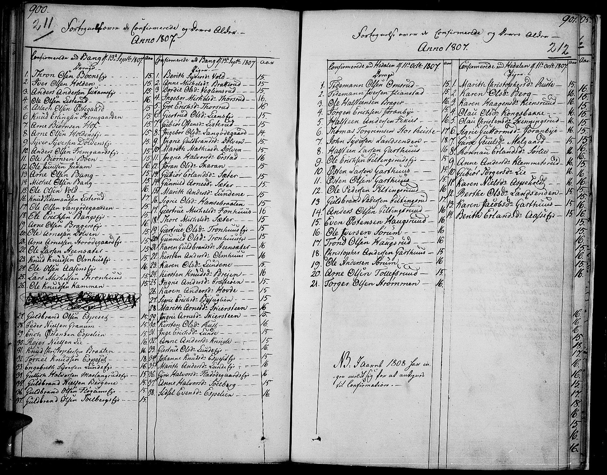 SAH, Sør-Aurdal prestekontor, Parish register (official) no. 1, 1807-1815, p. 211-212