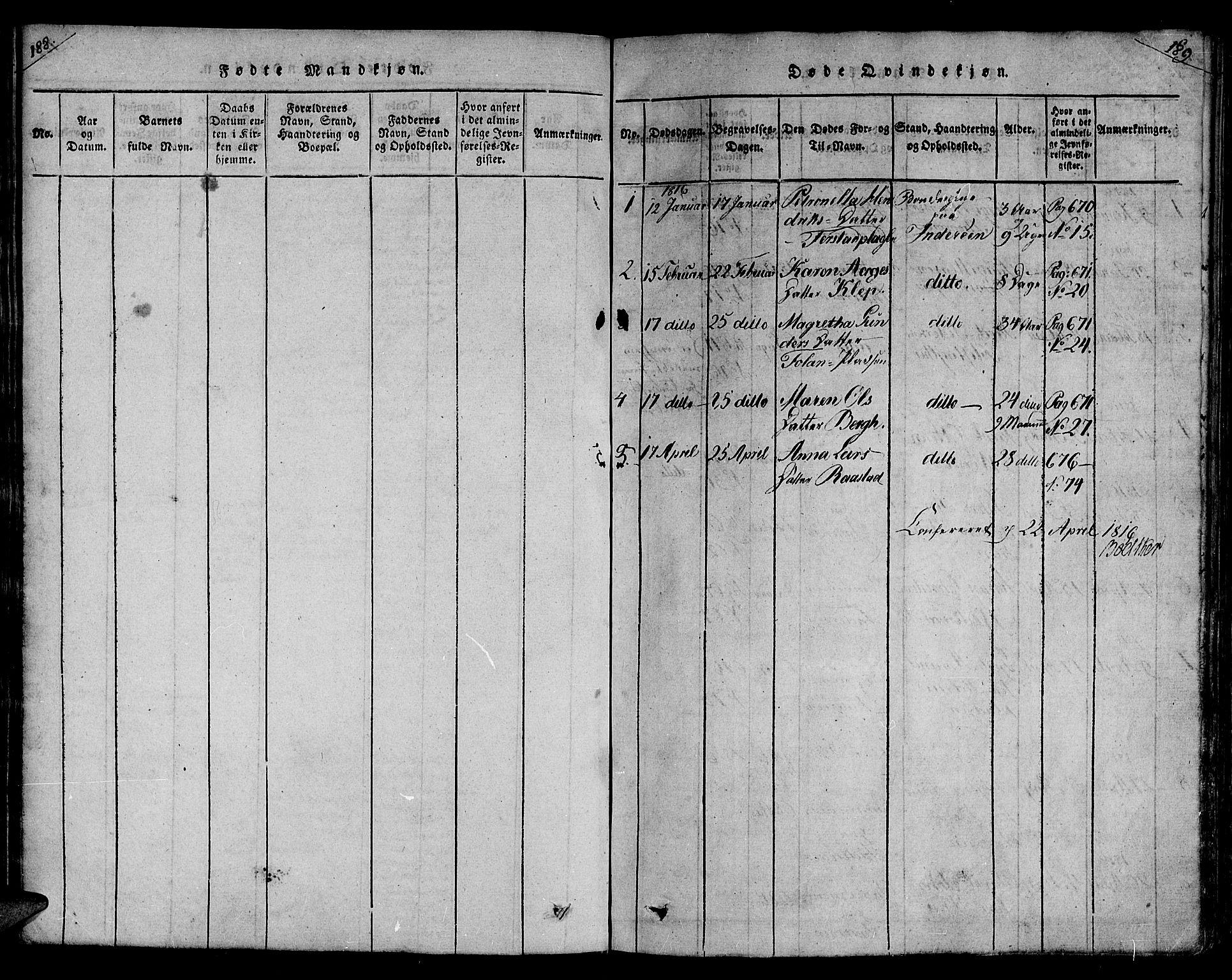 SAT, Ministerialprotokoller, klokkerbøker og fødselsregistre - Nord-Trøndelag, 730/L0275: Parish register (official) no. 730A04, 1816-1822, p. 188-189