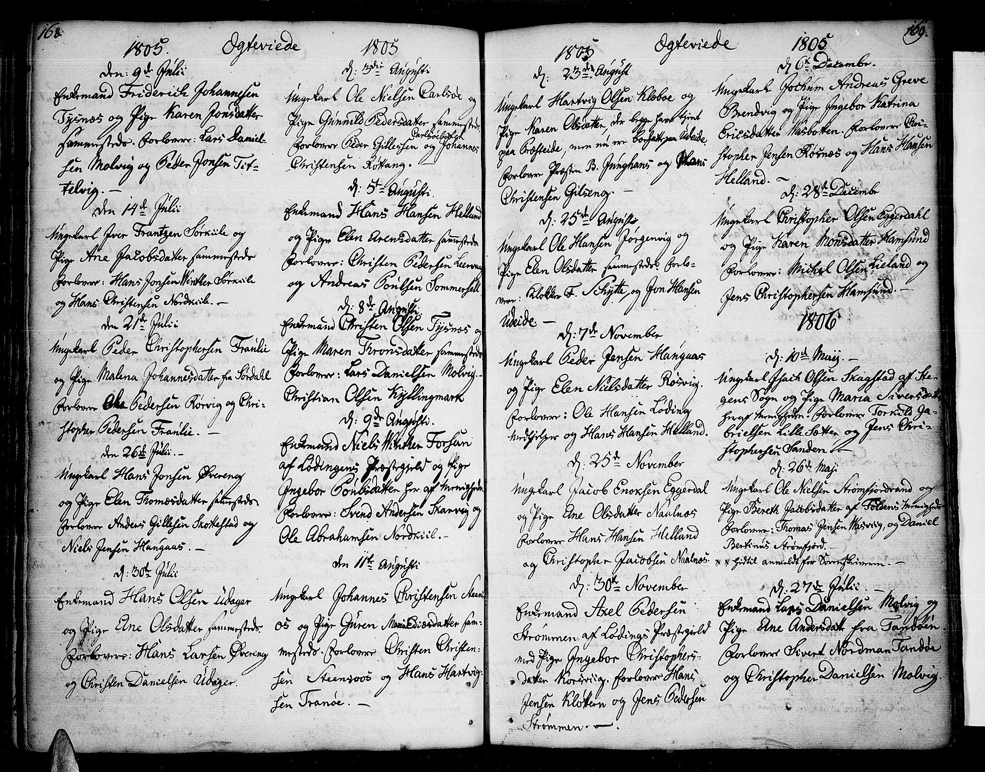 SAT, Ministerialprotokoller, klokkerbøker og fødselsregistre - Nordland, 859/L0841: Parish register (official) no. 859A01, 1766-1821, p. 168-169