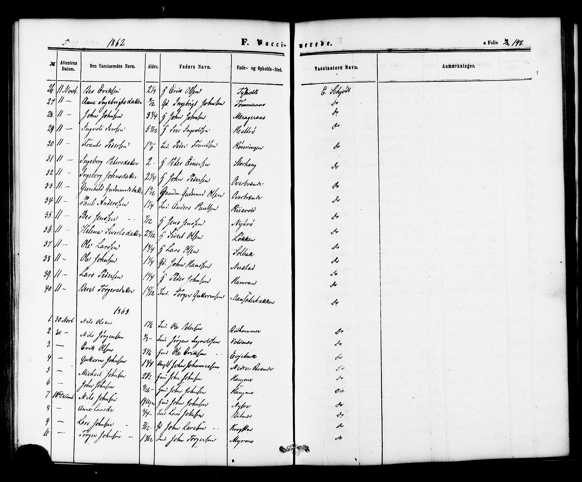 SAT, Ministerialprotokoller, klokkerbøker og fødselsregistre - Nord-Trøndelag, 706/L0041: Parish register (official) no. 706A02, 1862-1877, p. 148