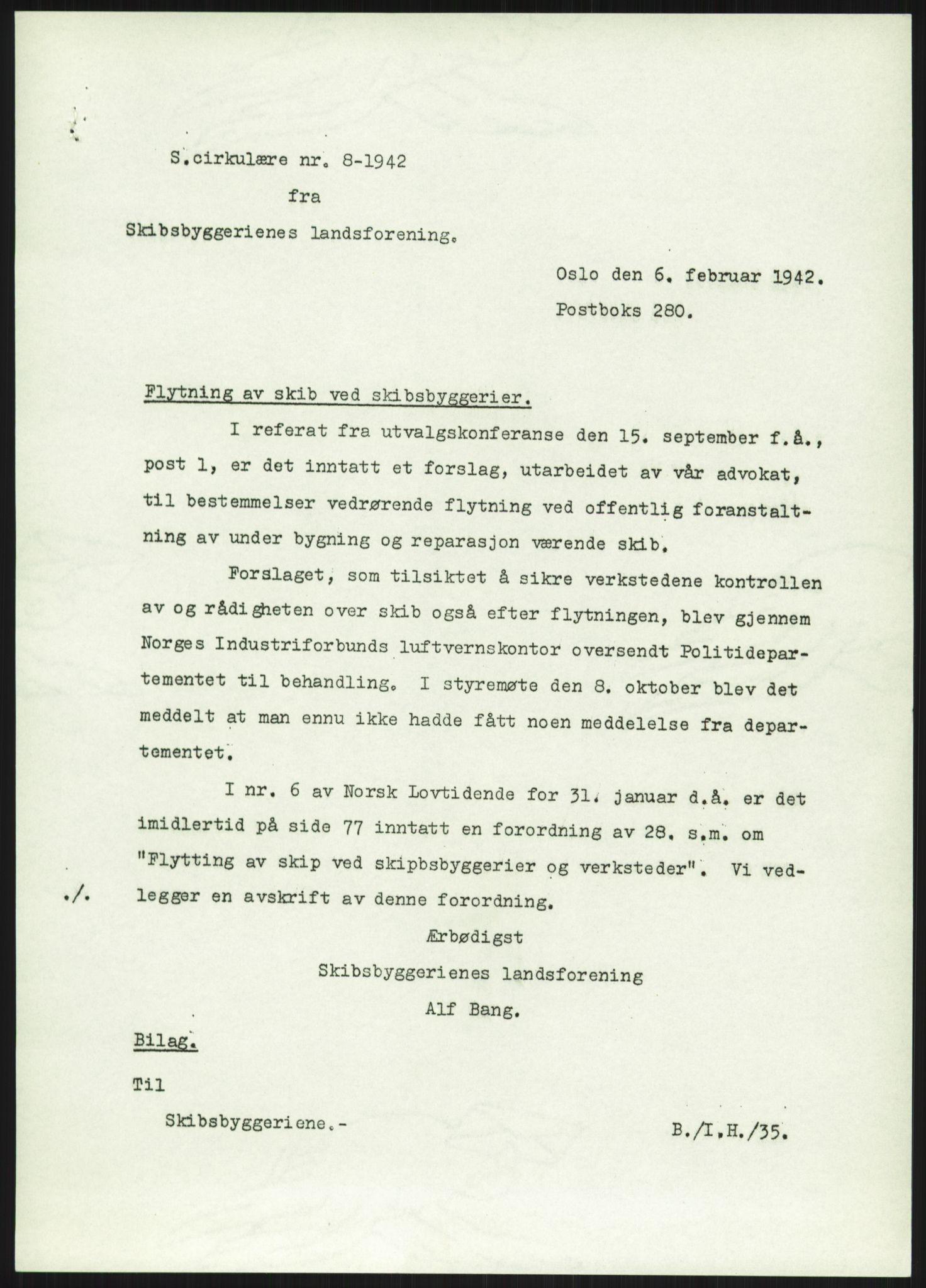 RA, Teknologibedriftenes Landsforening TBL, E/L0010: Boks med 6 mappe, 1941-1943, p. 1