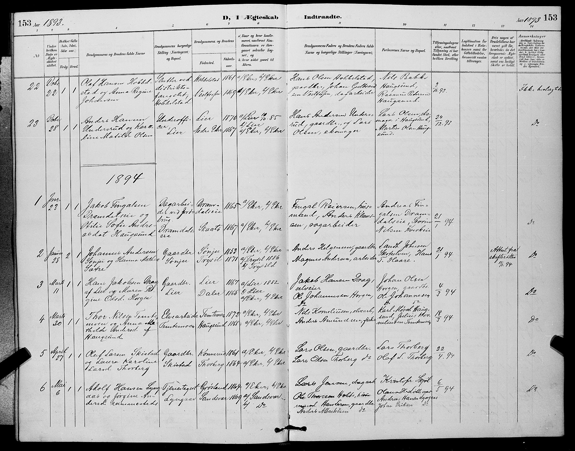 SAKO, Eiker kirkebøker, G/Ga/L0007: Parish register (copy) no. I 7, 1893-1902, p. 153