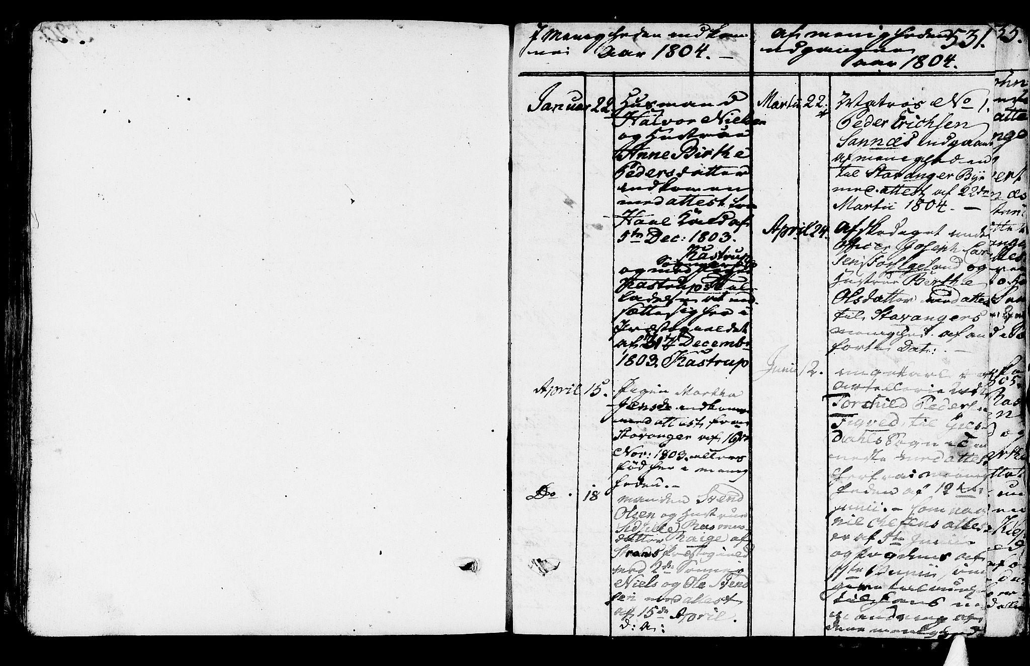 SAST, Høyland sokneprestkontor, 30BA/L0005: Parish register (official) no. A 5, 1804-1815, p. 531