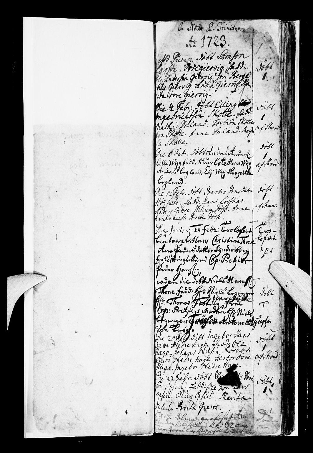 SAB, Os sokneprestembete*, Parish register (official) no. A 7, 1723-1760, p. 1