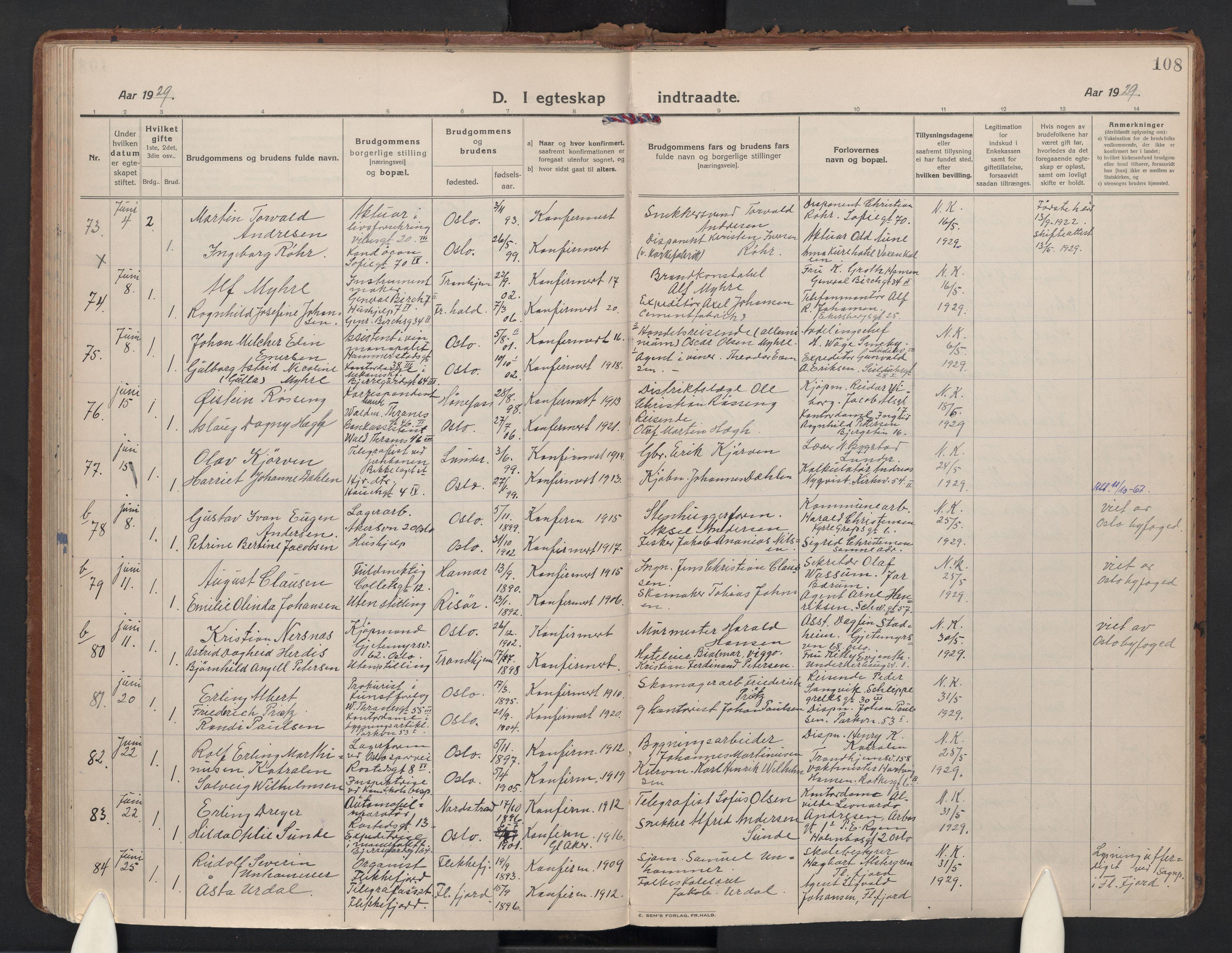 SAO, Gamle Aker prestekontor Kirkebøker, F/L0017: Parish register (official) no. 17, 1921-1931, p. 108