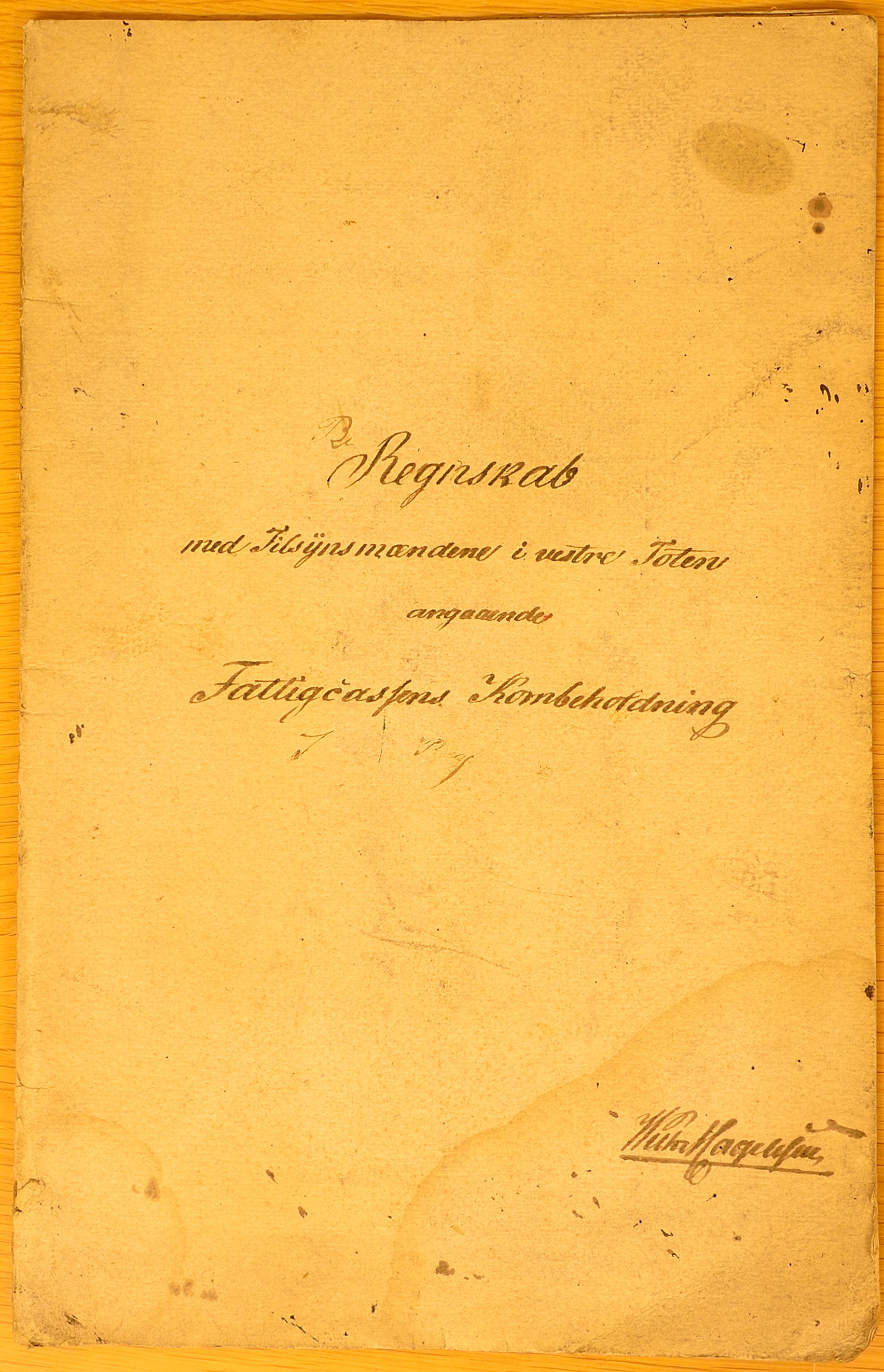 KVT, Vestre Toten kommunearkiv*, -: Regnskap over Vestre Toten fattigkasses kornbeholdning, 1847-1850