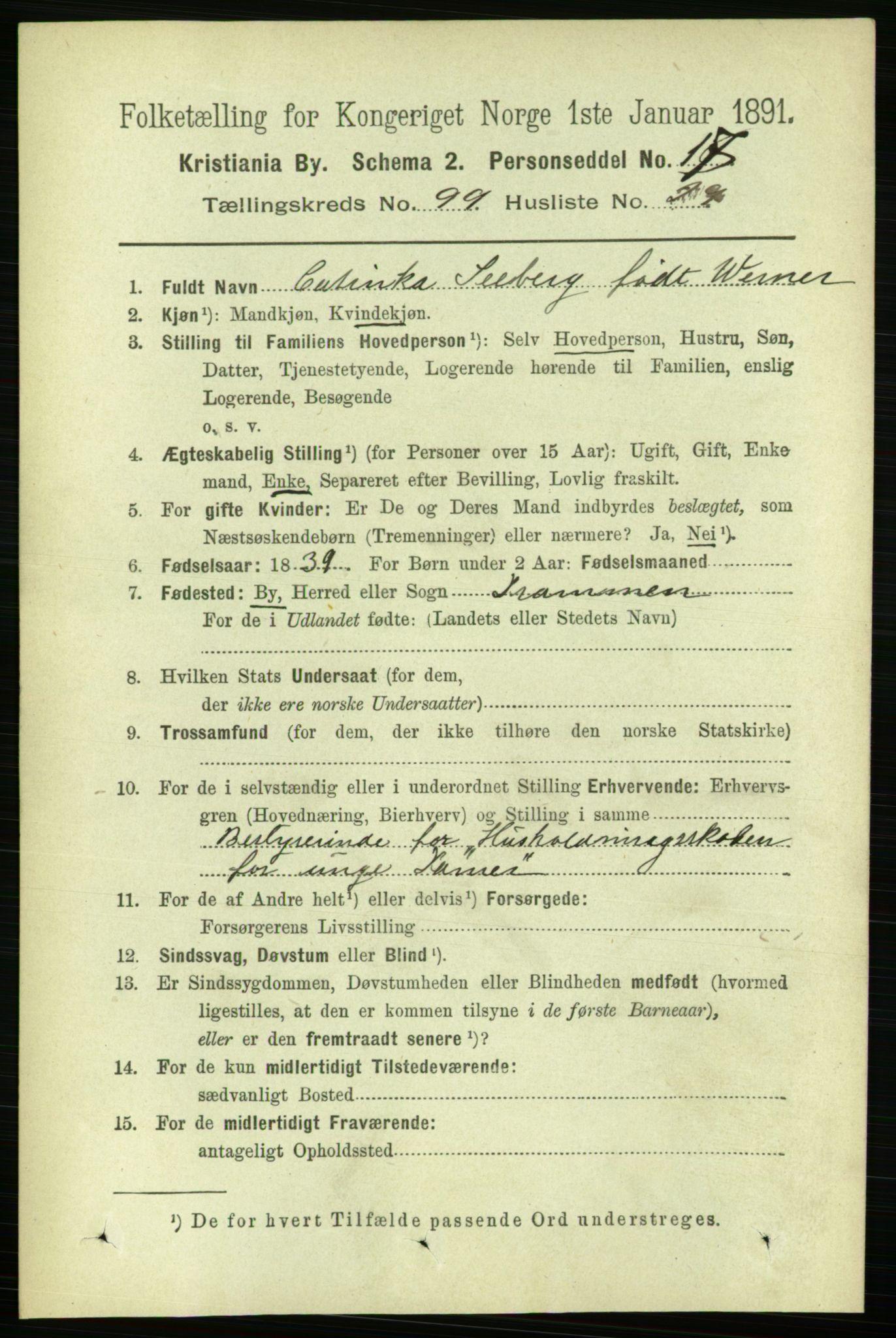 RA, 1891 census for 0301 Kristiania, 1891, p. 49090