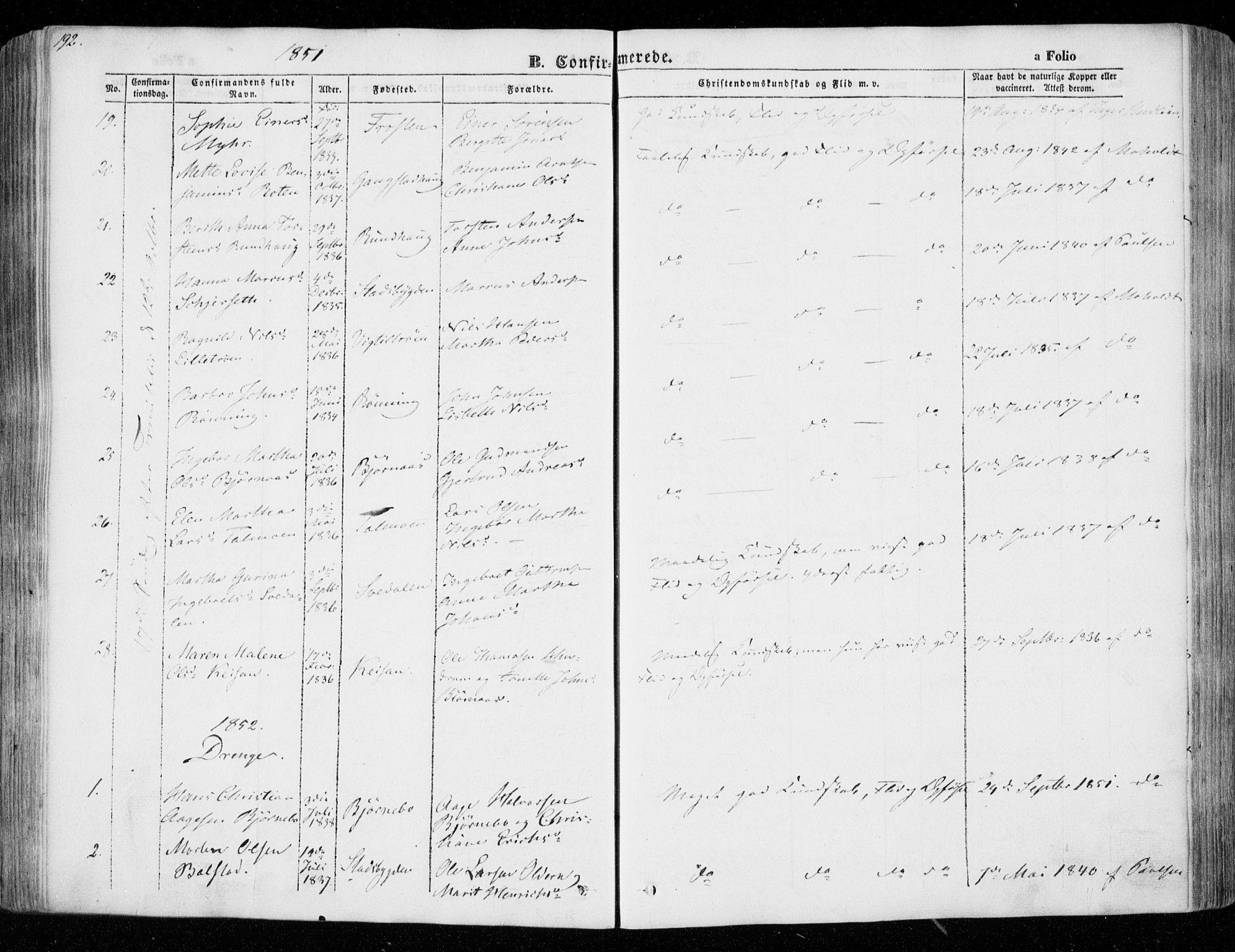 SAT, Ministerialprotokoller, klokkerbøker og fødselsregistre - Nord-Trøndelag, 701/L0007: Parish register (official) no. 701A07 /1, 1842-1854, p. 192