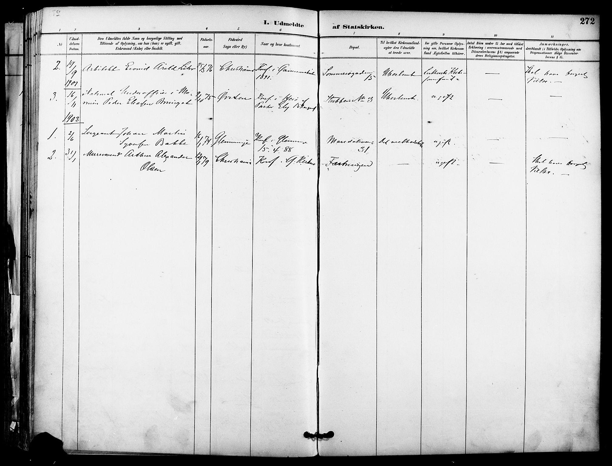 SAO, Garnisonsmenigheten Kirkebøker, F/Fa/L0013: Parish register (official) no. 13, 1894-1904, p. 272