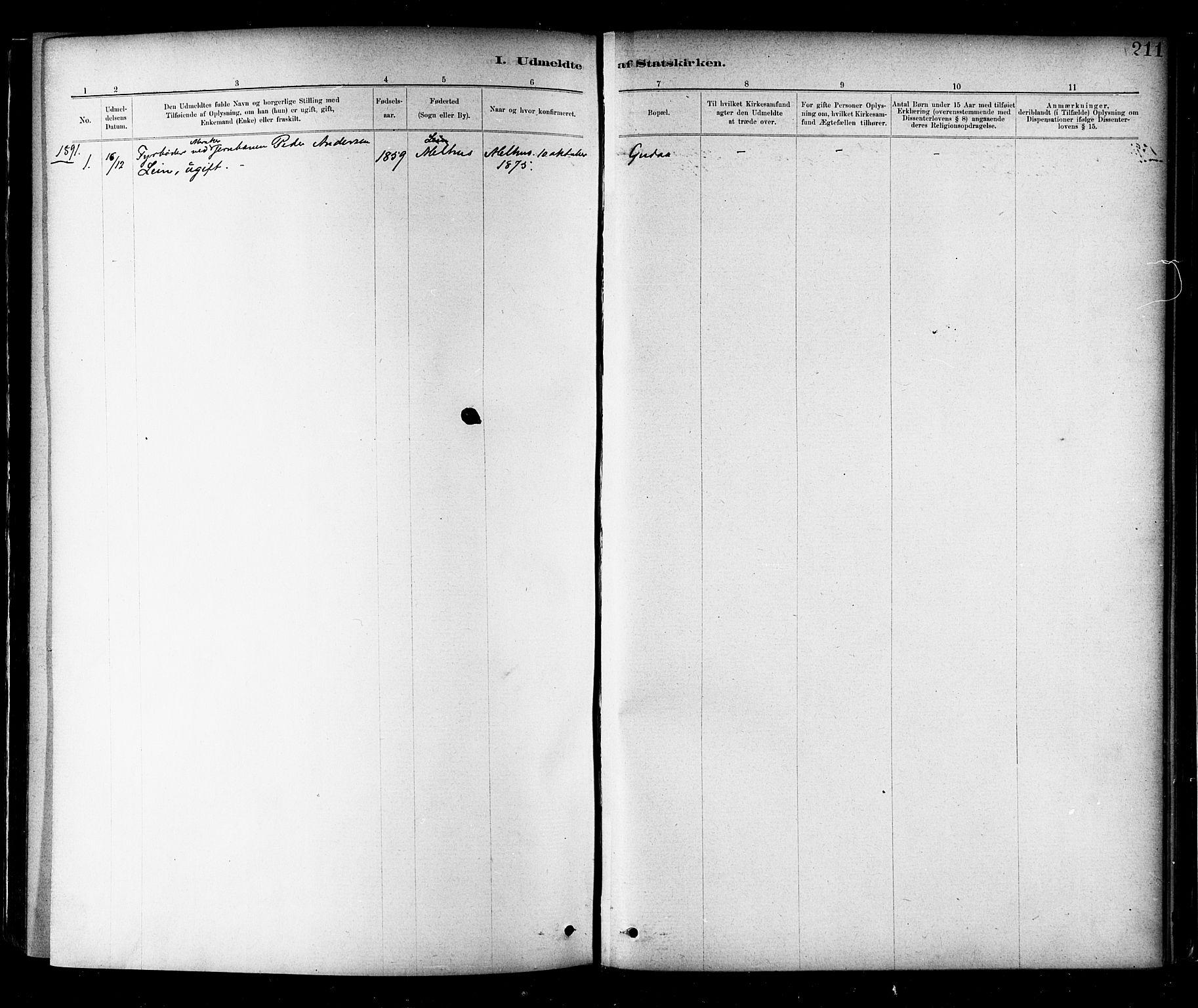 SAT, Ministerialprotokoller, klokkerbøker og fødselsregistre - Nord-Trøndelag, 706/L0047: Parish register (official) no. 706A03, 1878-1892, p. 211