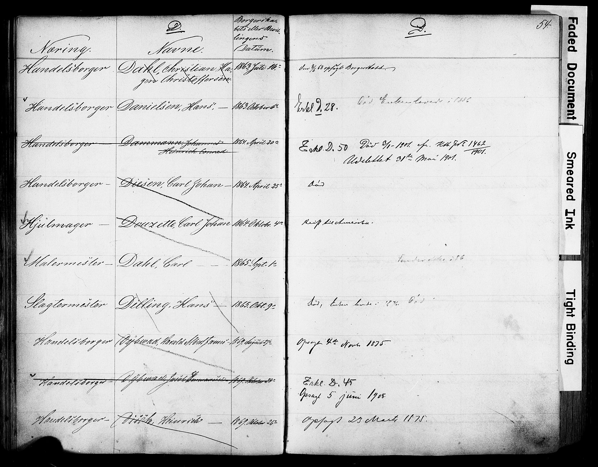 SAO, Kristiania magistrat, F/Fb/L0004: Borgerrulle, 1860-1879, p. 56