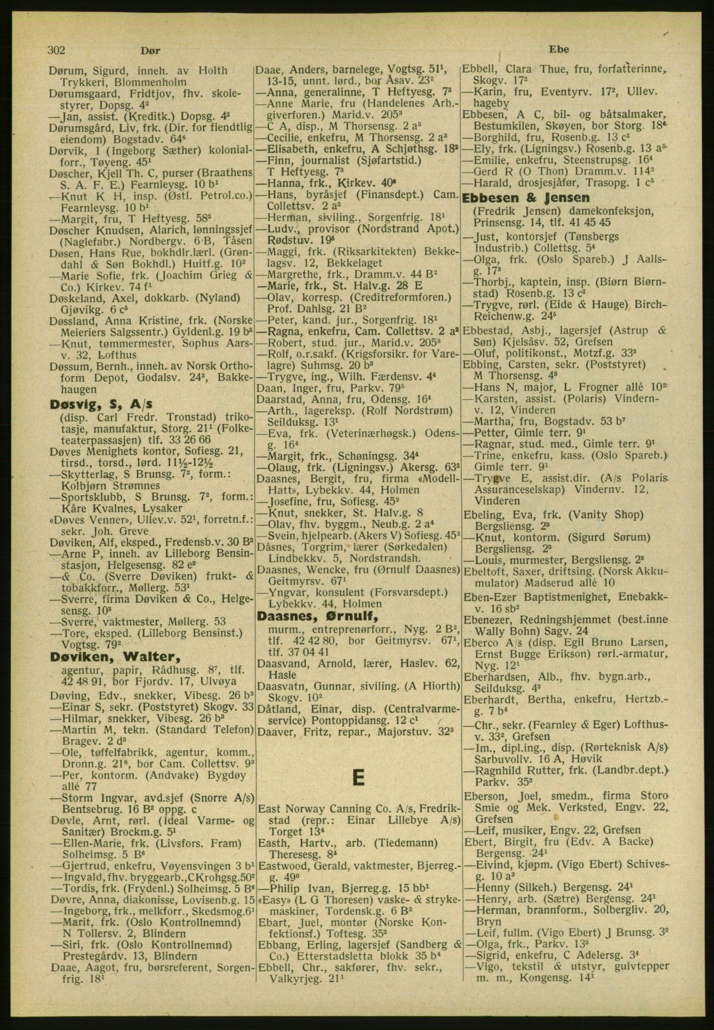 PUBL, Kristiania/Oslo adressebok, 1951, p. 302