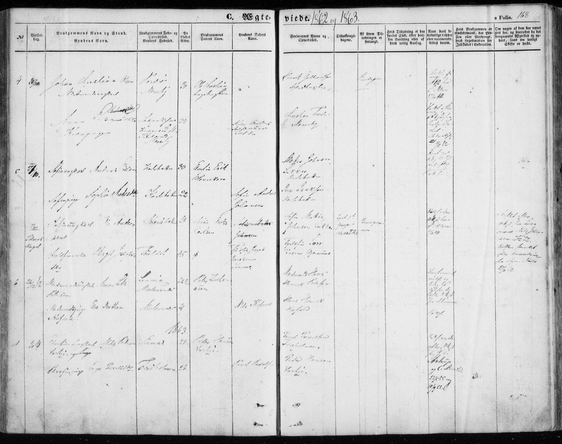 SATØ, Nesseby sokneprestkontor, H/Ha/L0002kirke: Parish register (official) no. 2, 1856-1864, p. 168