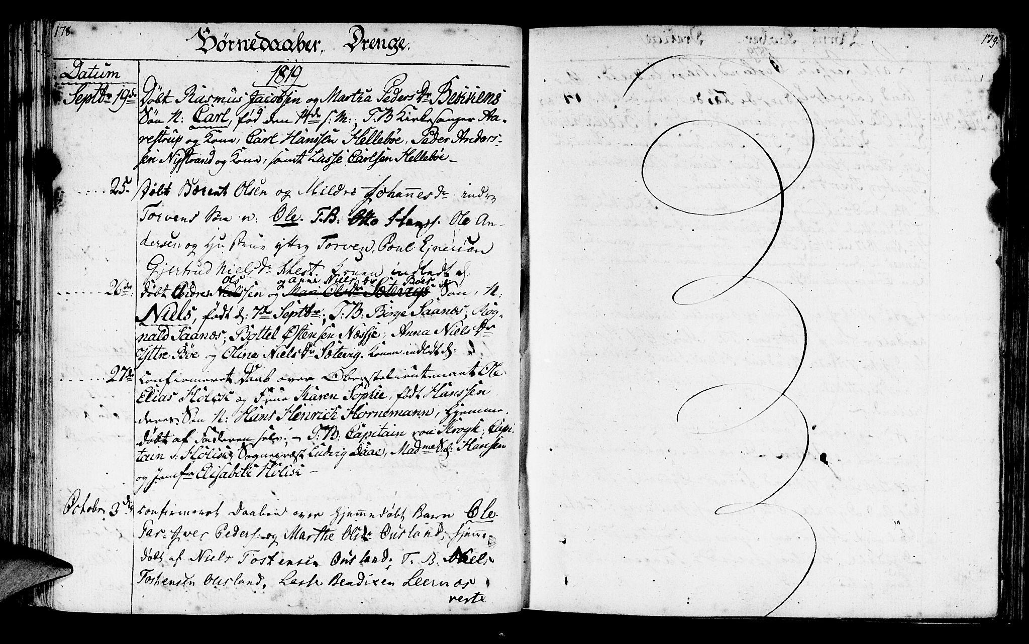 SAB, Lavik sokneprestembete, Parish register (official) no. A 1, 1809-1822, p. 178-179