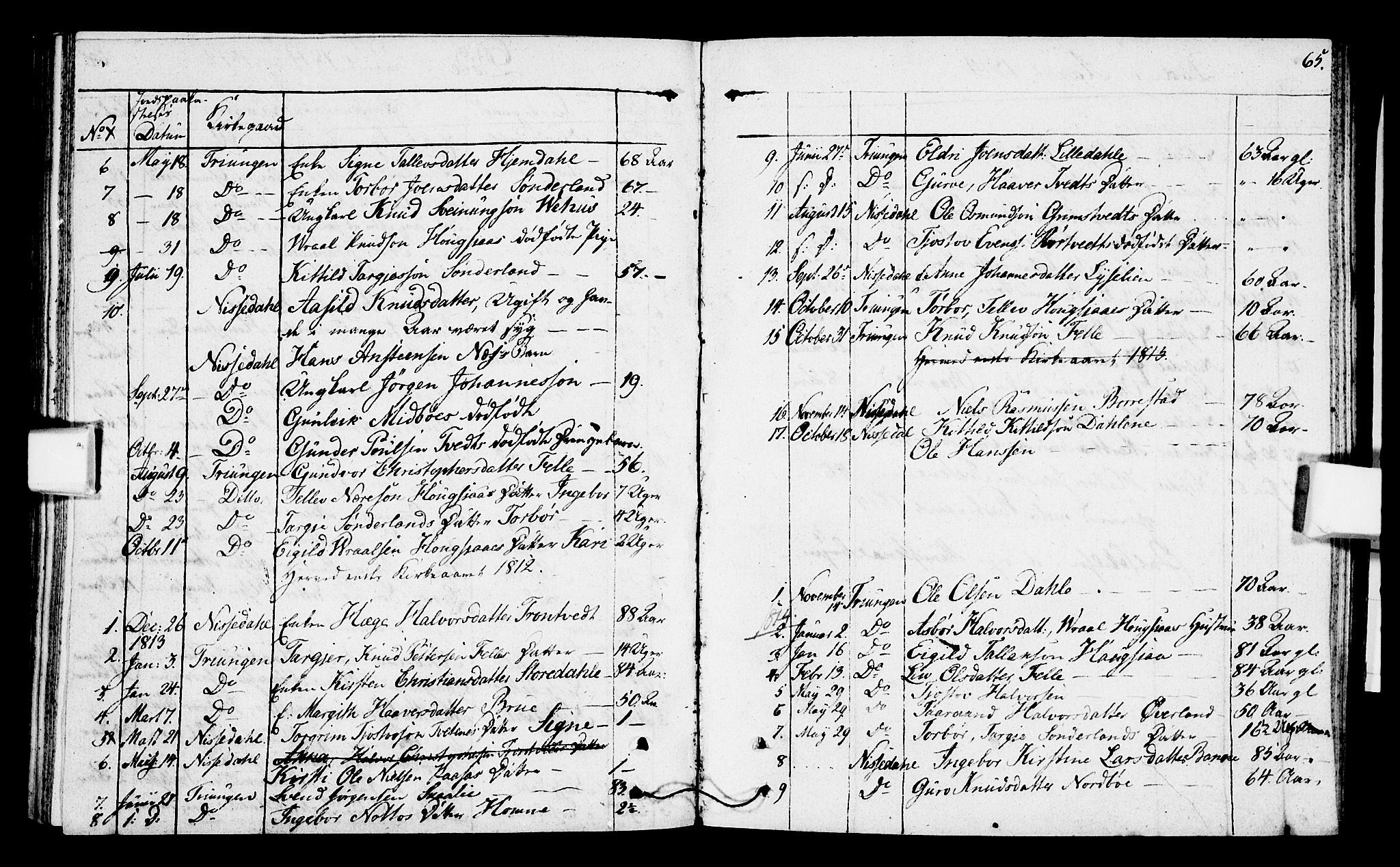 SAKO, Nissedal kirkebøker, F/Fa/L0001: Parish register (official) no. I 1, 1811-1814, p. 65