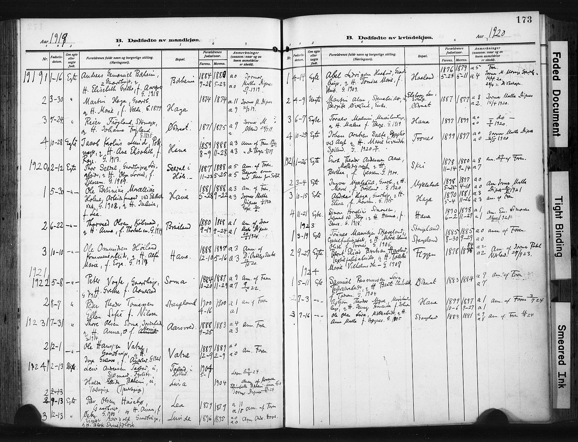 SAST, Høyland sokneprestkontor, 30BA/L0017: Parish register (official) no. A 15, 1912-1924, p. 173