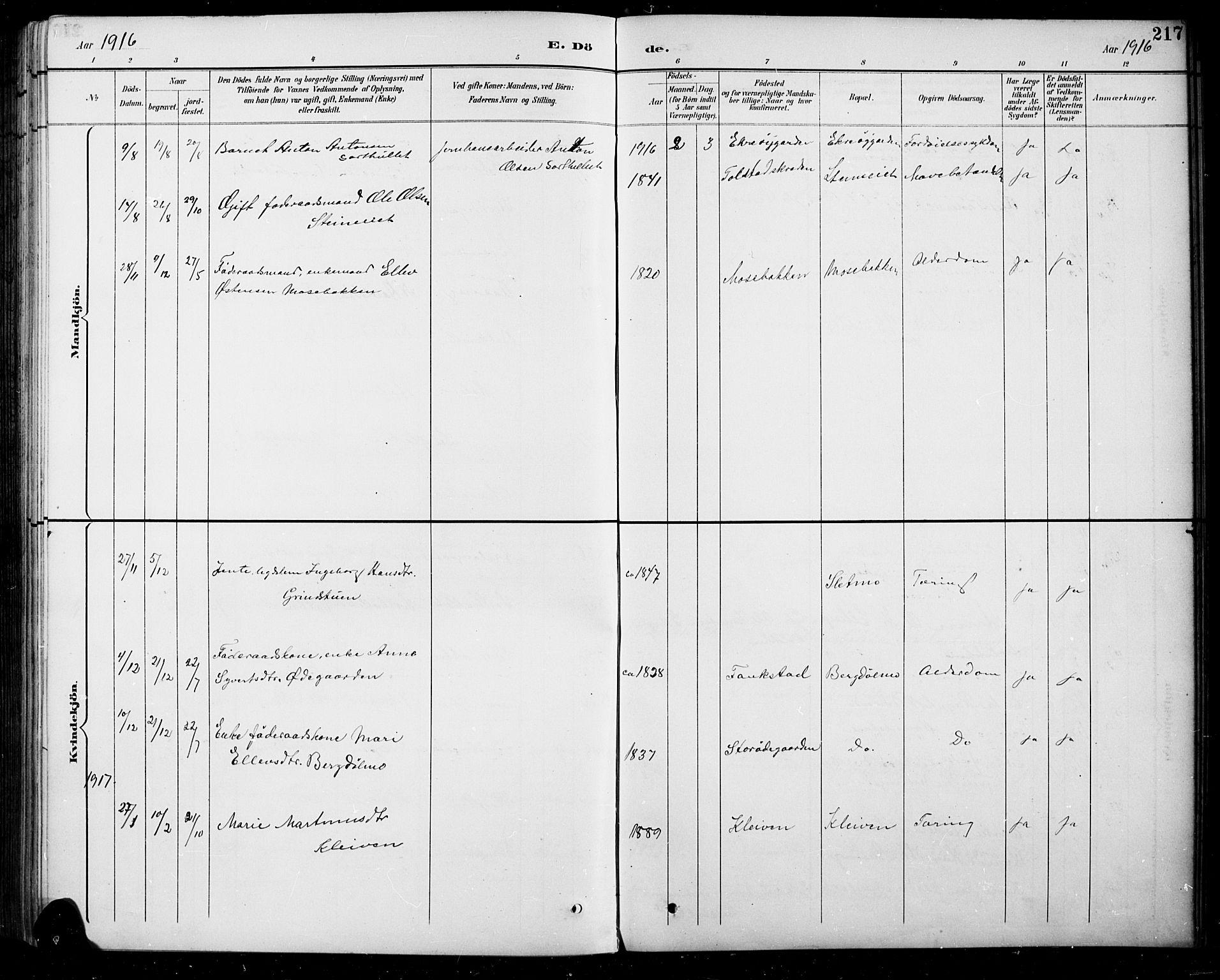 SAH, Sel prestekontor, Parish register (copy) no. 5, 1894-1923, p. 217