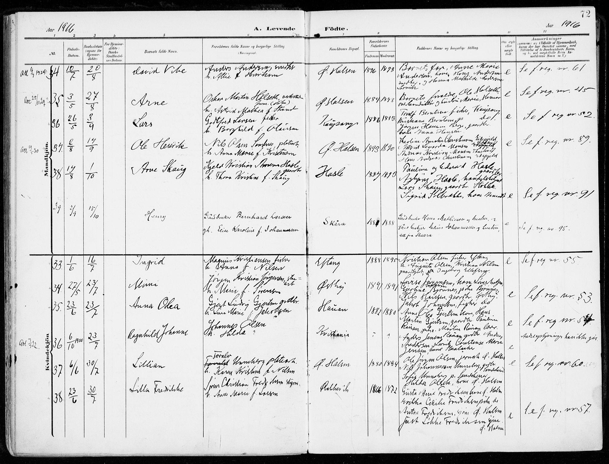 SAKO, Tjølling kirkebøker, F/Fa/L0010: Parish register (official) no. 10, 1906-1923, p. 72
