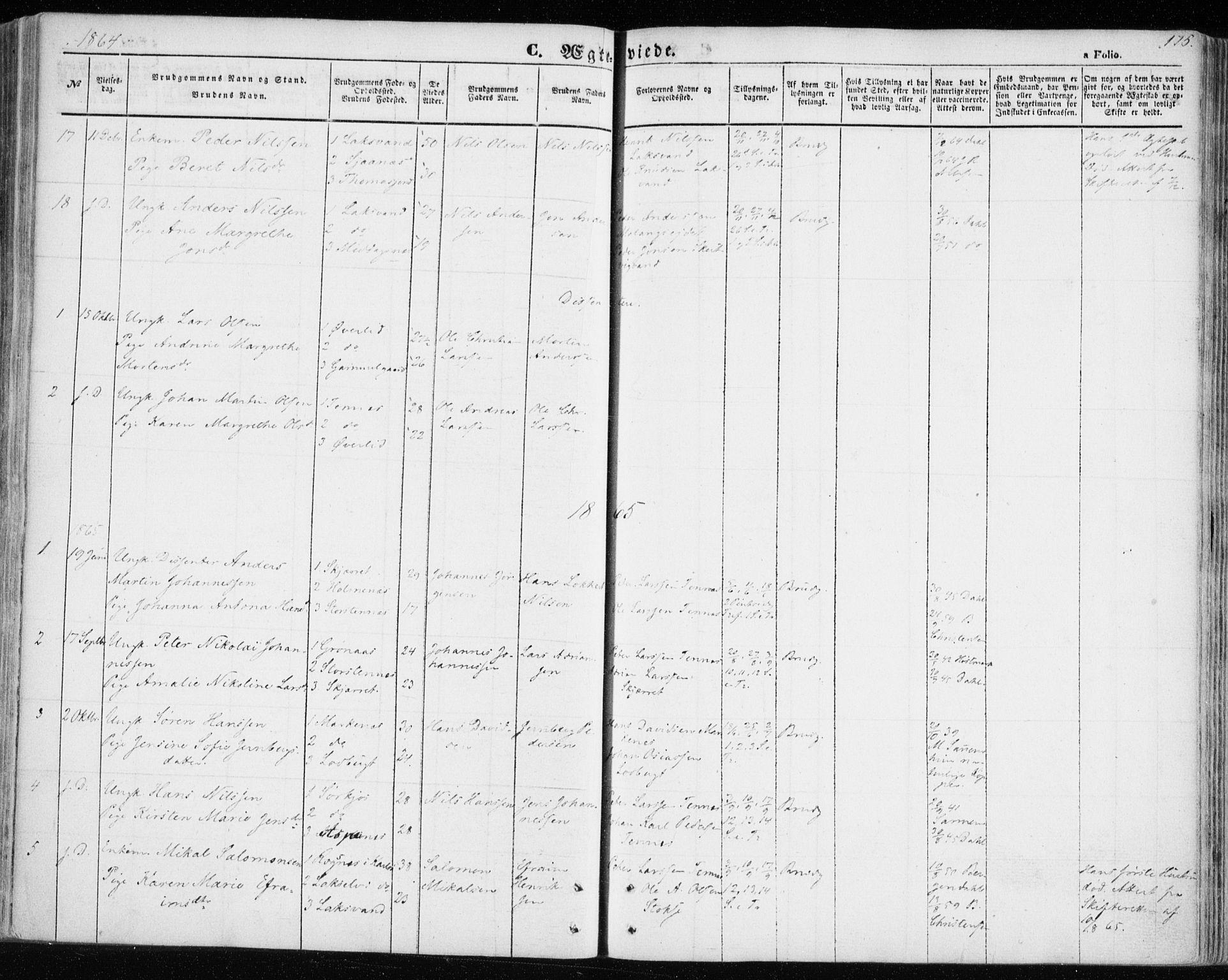 SATØ, Balsfjord sokneprestembete, Parish register (official) no. 3, 1856-1870, p. 175
