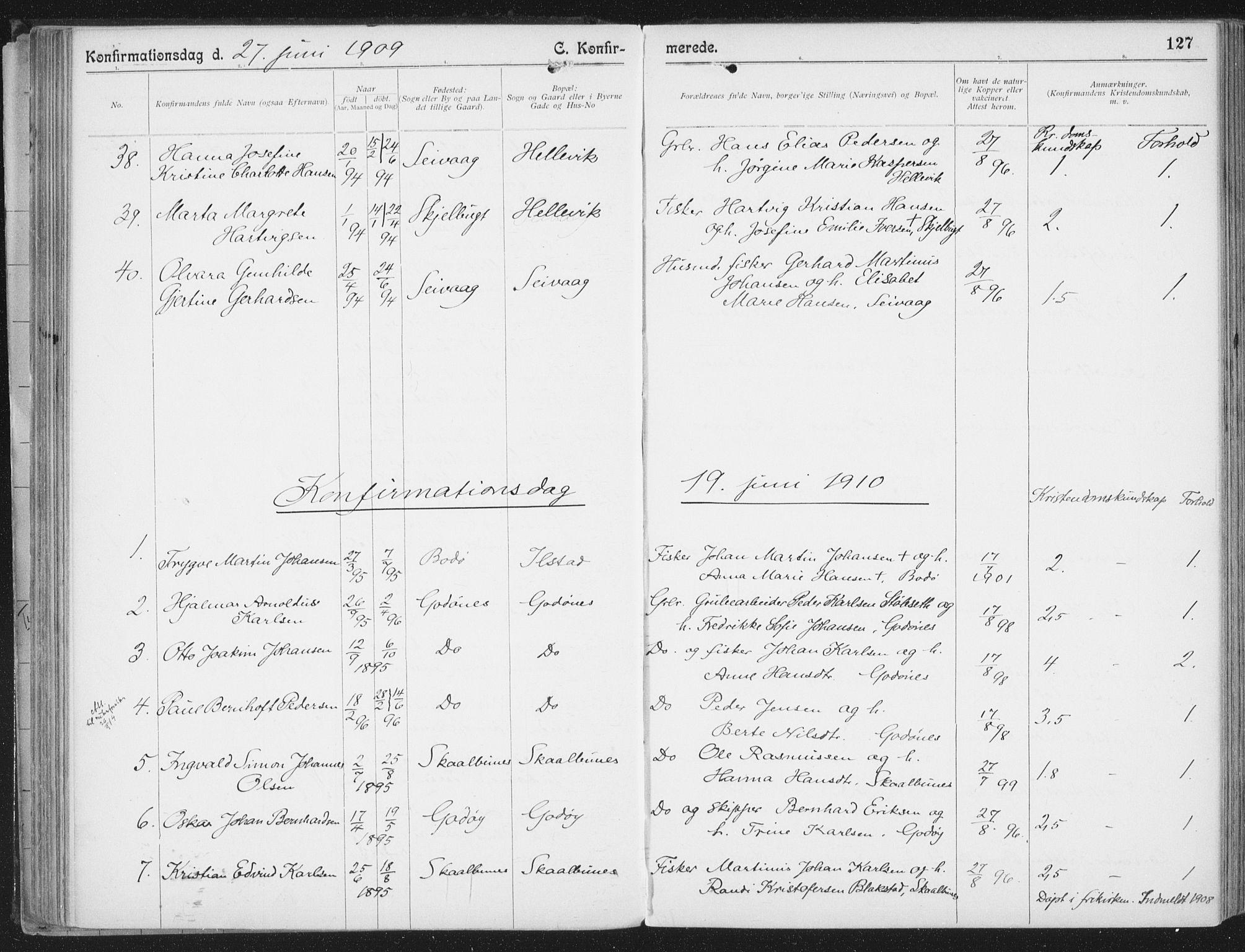 SAT, Ministerialprotokoller, klokkerbøker og fødselsregistre - Nordland, 804/L0081: Parish register (official) no. 804A02, 1901-1915, p. 127