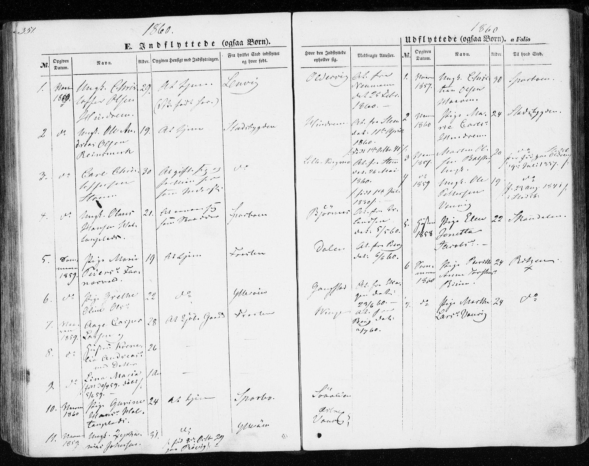 SAT, Ministerialprotokoller, klokkerbøker og fødselsregistre - Nord-Trøndelag, 701/L0008: Parish register (official) no. 701A08 /1, 1854-1863, p. 351