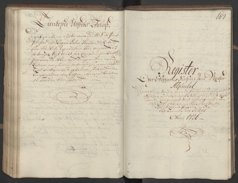 RA, Generaltollkammeret, tollregnskaper, R15/L0030a: Tollregnskaper Arendal, 1756, p. 166b-167a