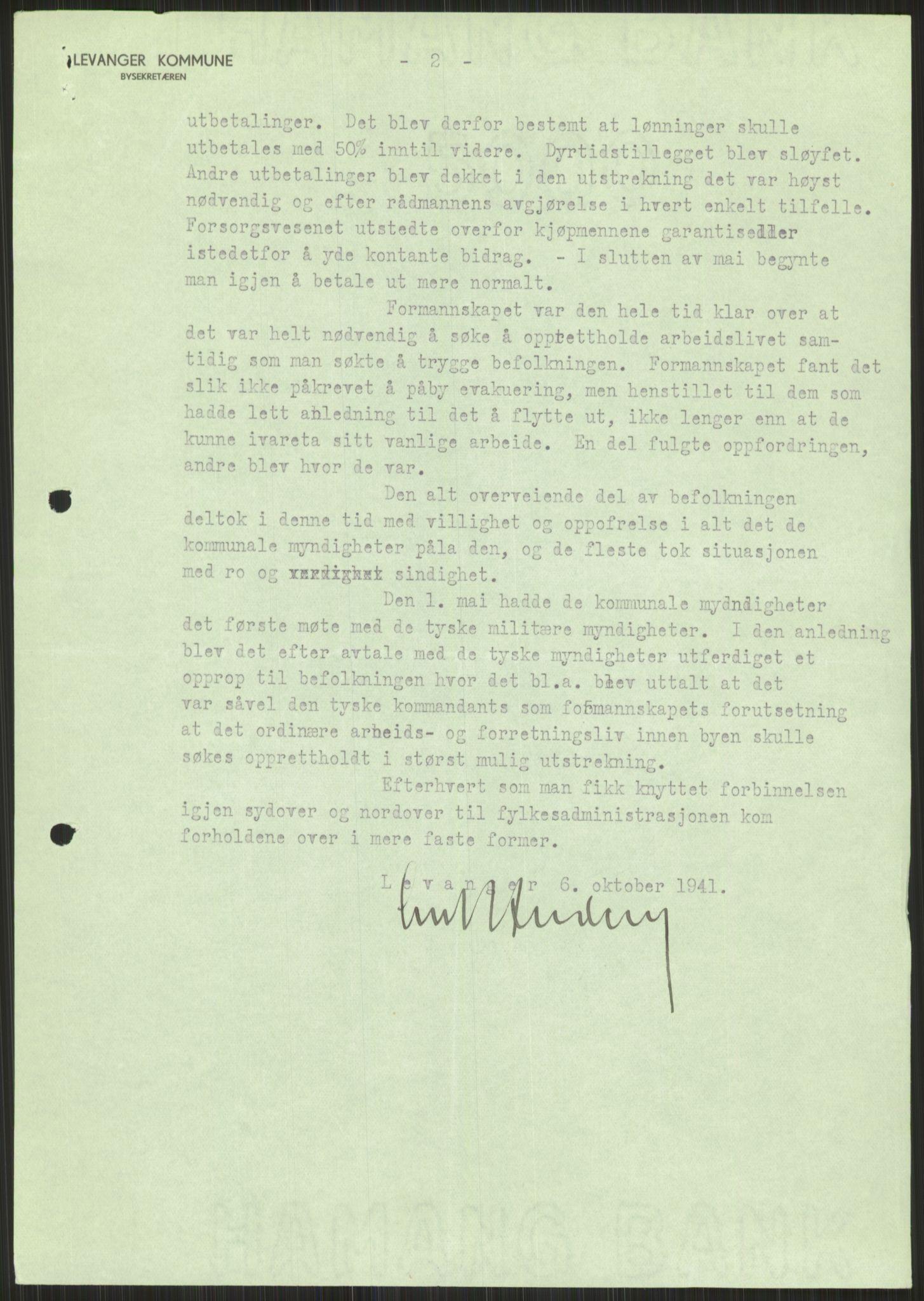 RA, Forsvaret, Forsvarets krigshistoriske avdeling, Y/Ya/L0016: II-C-11-31 - Fylkesmenn.  Rapporter om krigsbegivenhetene 1940., 1940, p. 498