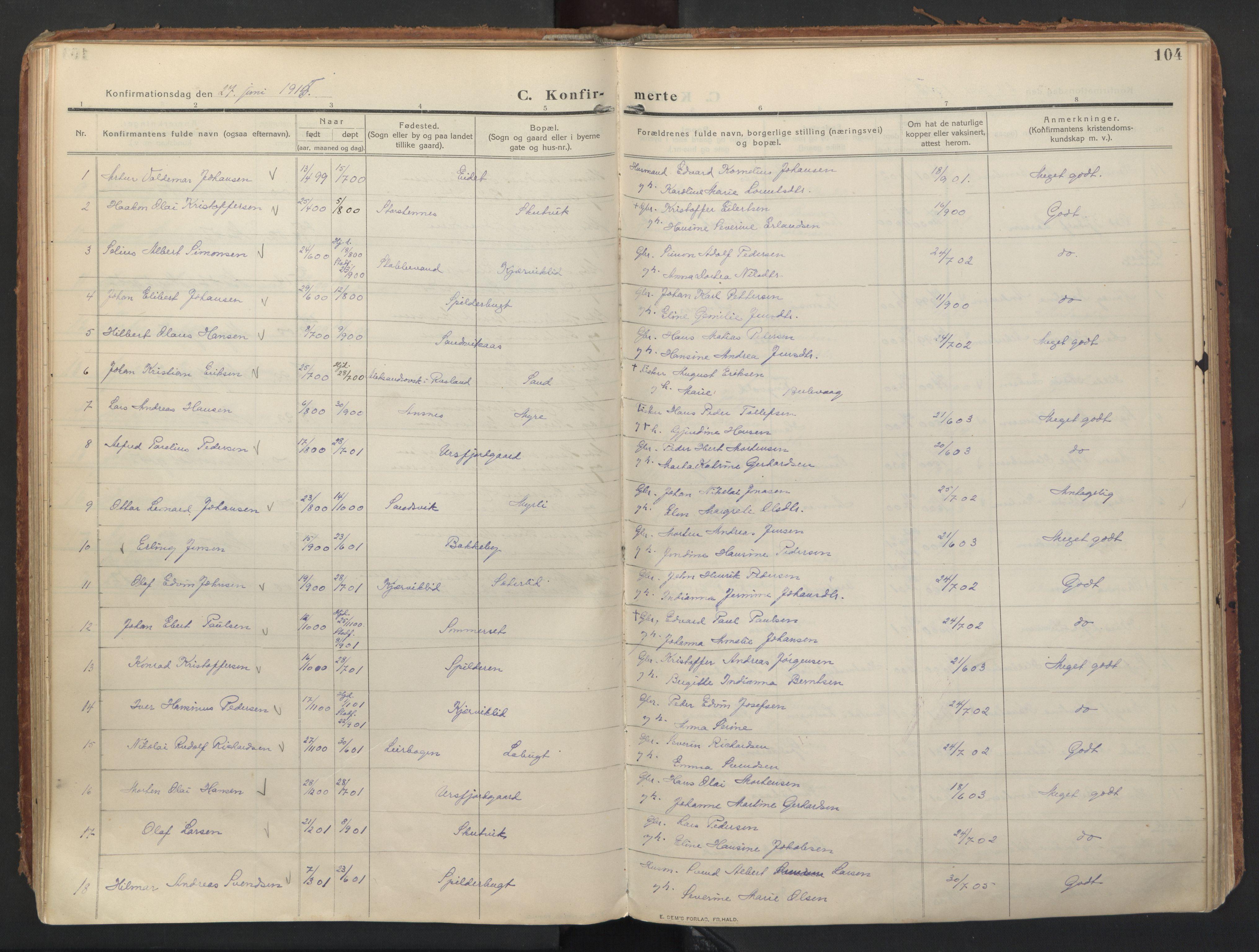 SATØ, Balsfjord sokneprestembete, Parish register (official) no. 8, 1910-1927, p. 104