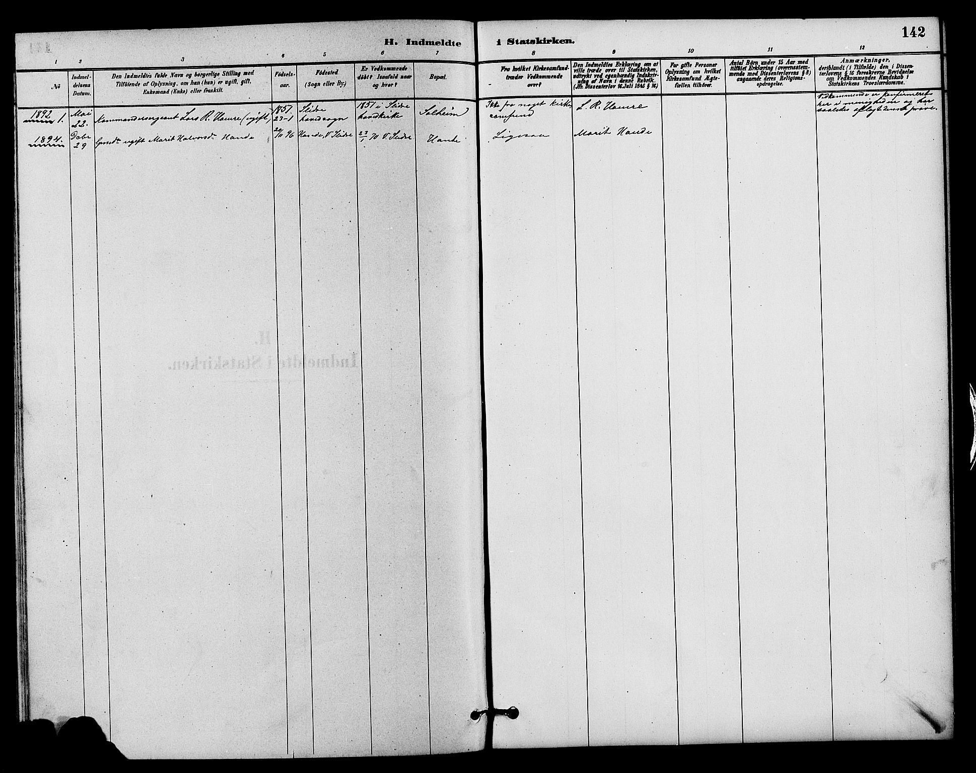 SAH, Vestre Slidre prestekontor, Parish register (copy) no. 4, 1881-1912, p. 142