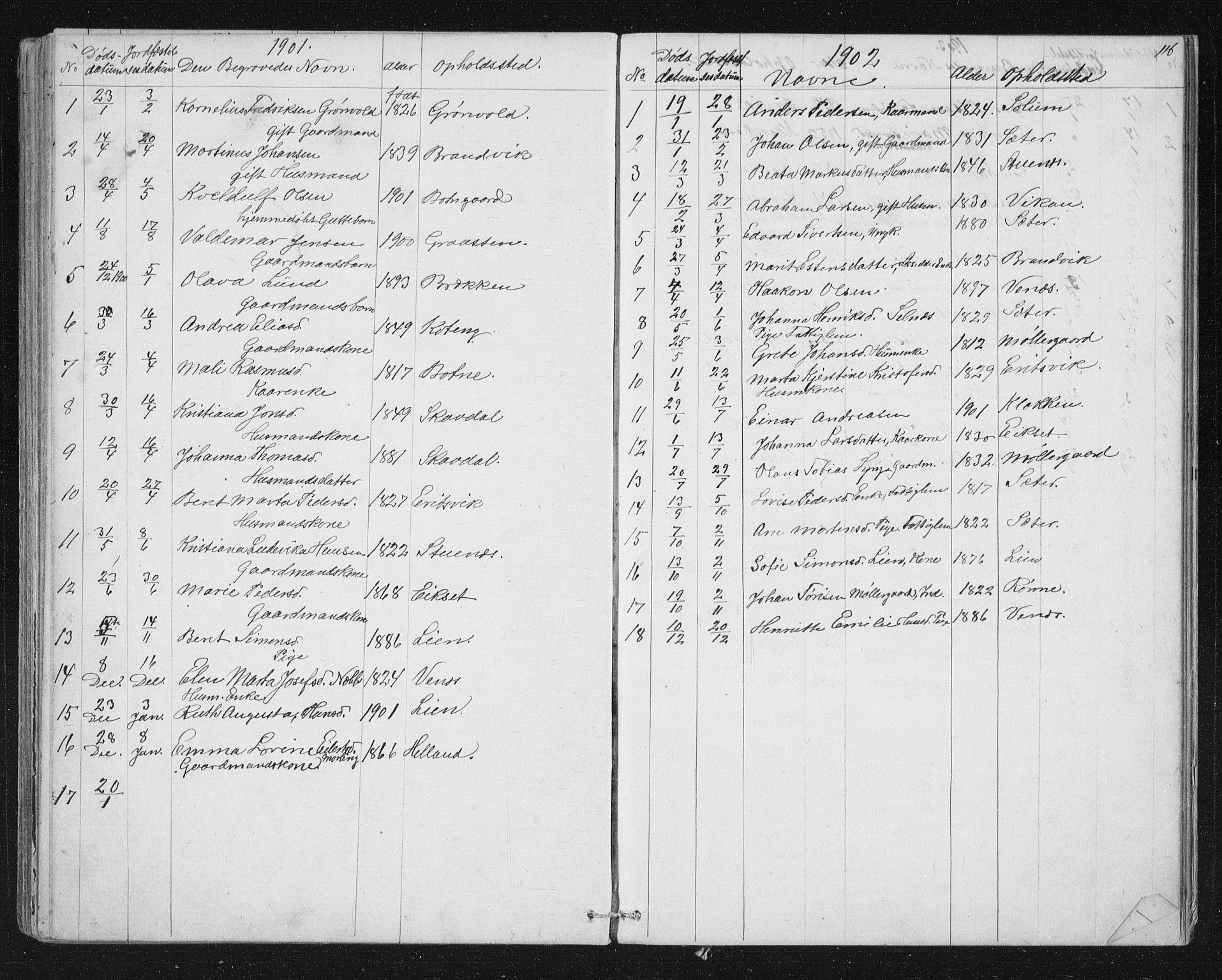 SAT, Ministerialprotokoller, klokkerbøker og fødselsregistre - Sør-Trøndelag, 651/L0647: Parish register (copy) no. 651C01, 1866-1914, p. 116