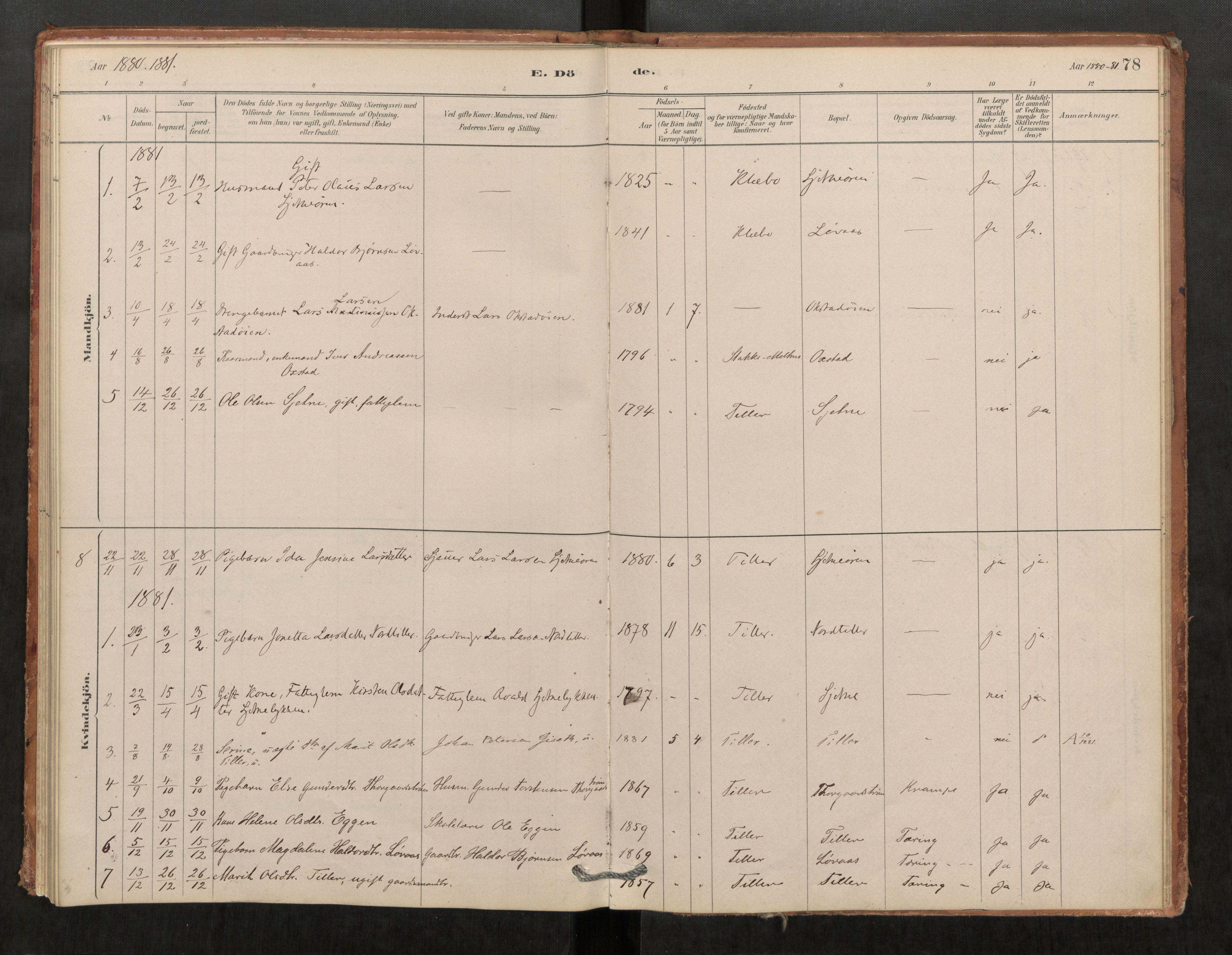 SAT, Klæbu sokneprestkontor, Parish register (official) no. 1, 1880-1900, p. 78