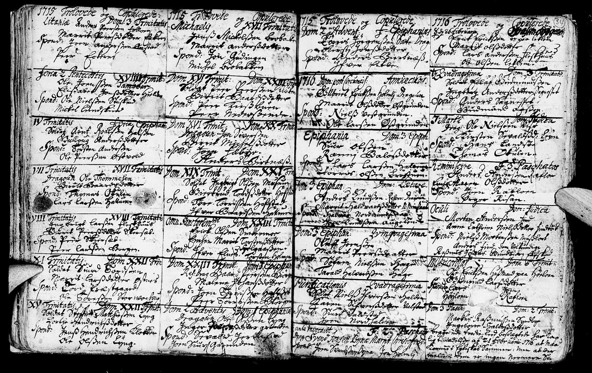 SAT, Ministerialprotokoller, klokkerbøker og fødselsregistre - Nord-Trøndelag, 723/L0230: Parish register (official) no. 723A01, 1705-1747, p. 34