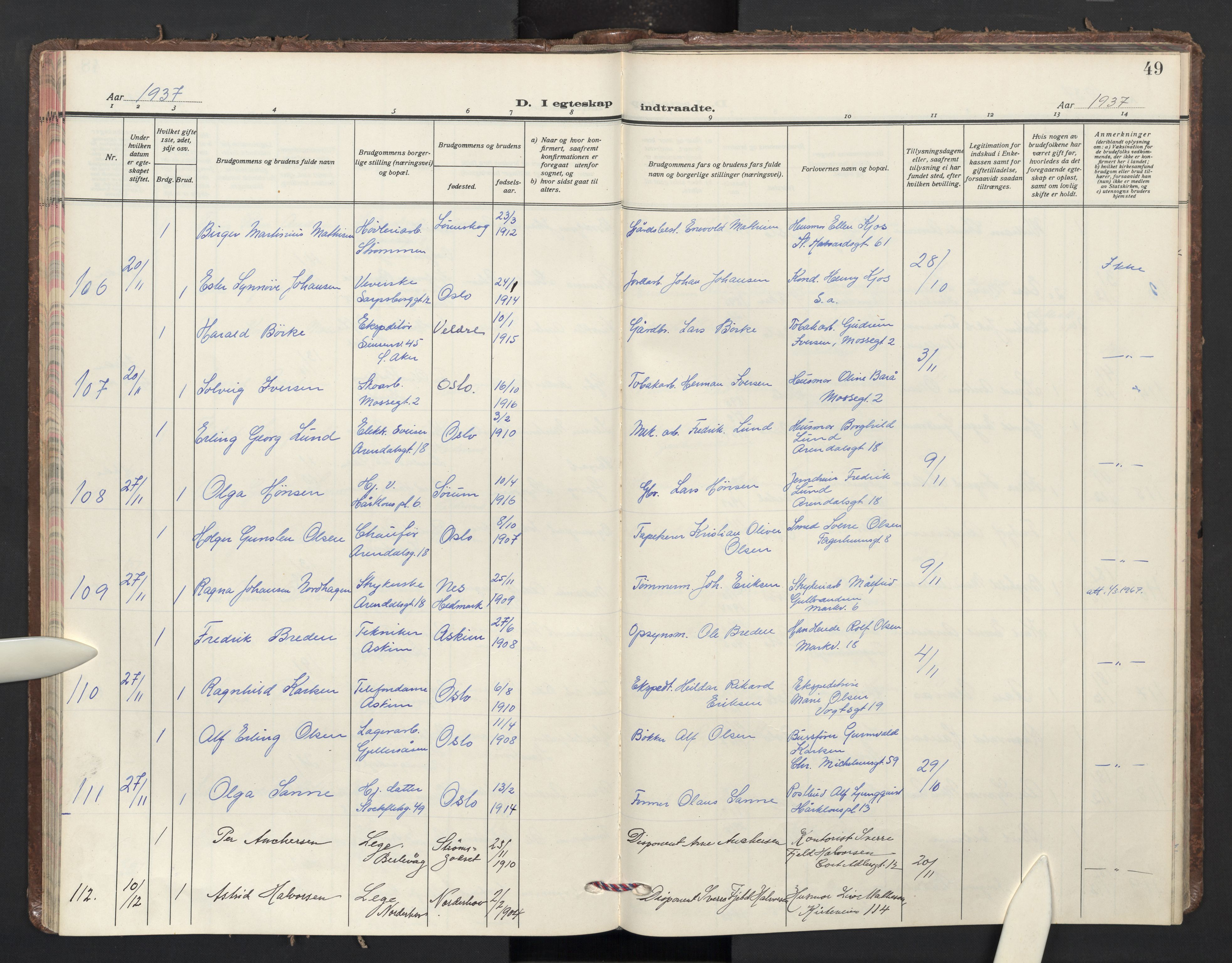SAO, Sagene prestekontor Kirkebøker, F/L0018: Parish register (official) no. 18, 1935-1940, p. 49