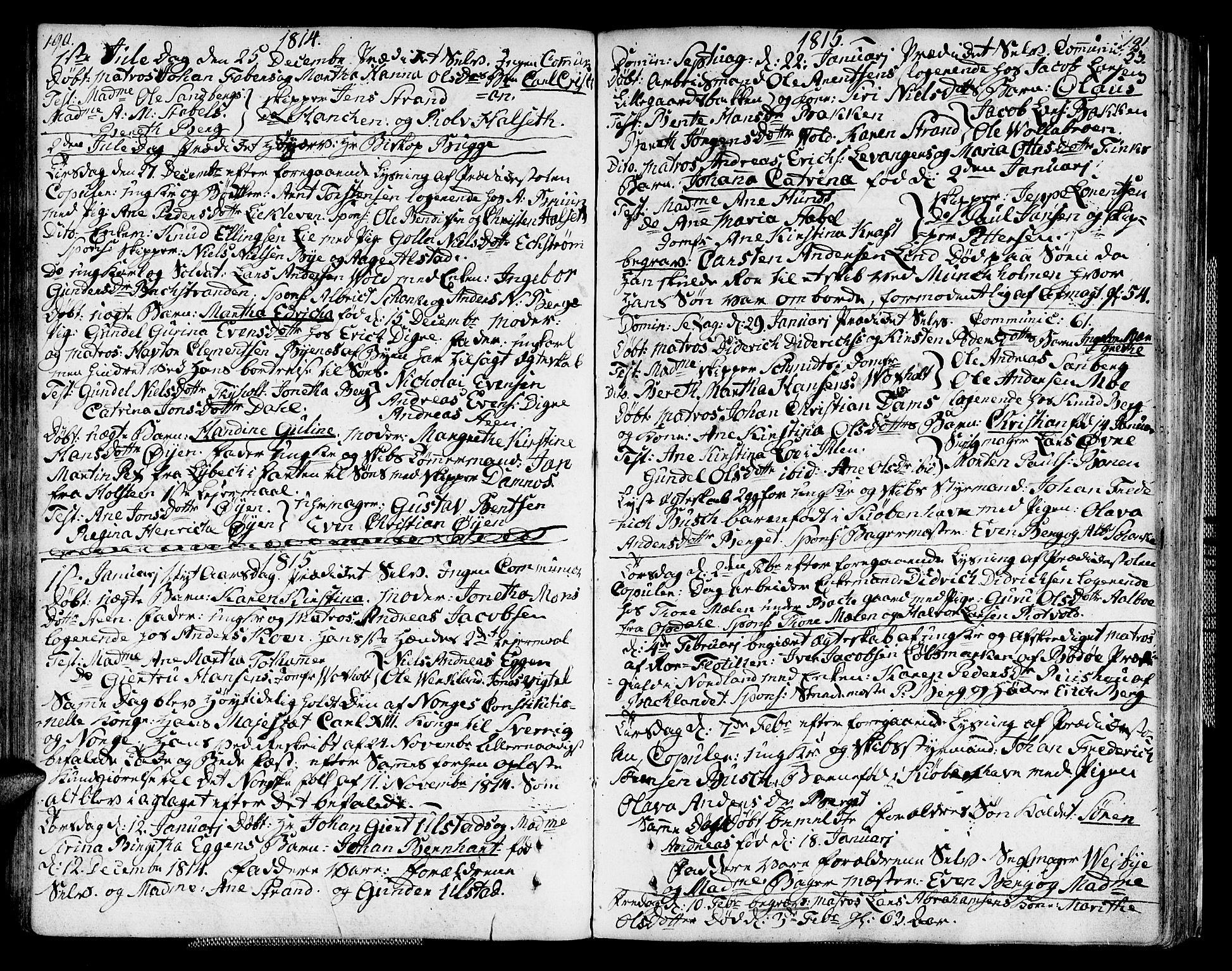 SAT, Ministerialprotokoller, klokkerbøker og fødselsregistre - Sør-Trøndelag, 604/L0181: Parish register (official) no. 604A02, 1798-1817, p. 190-191