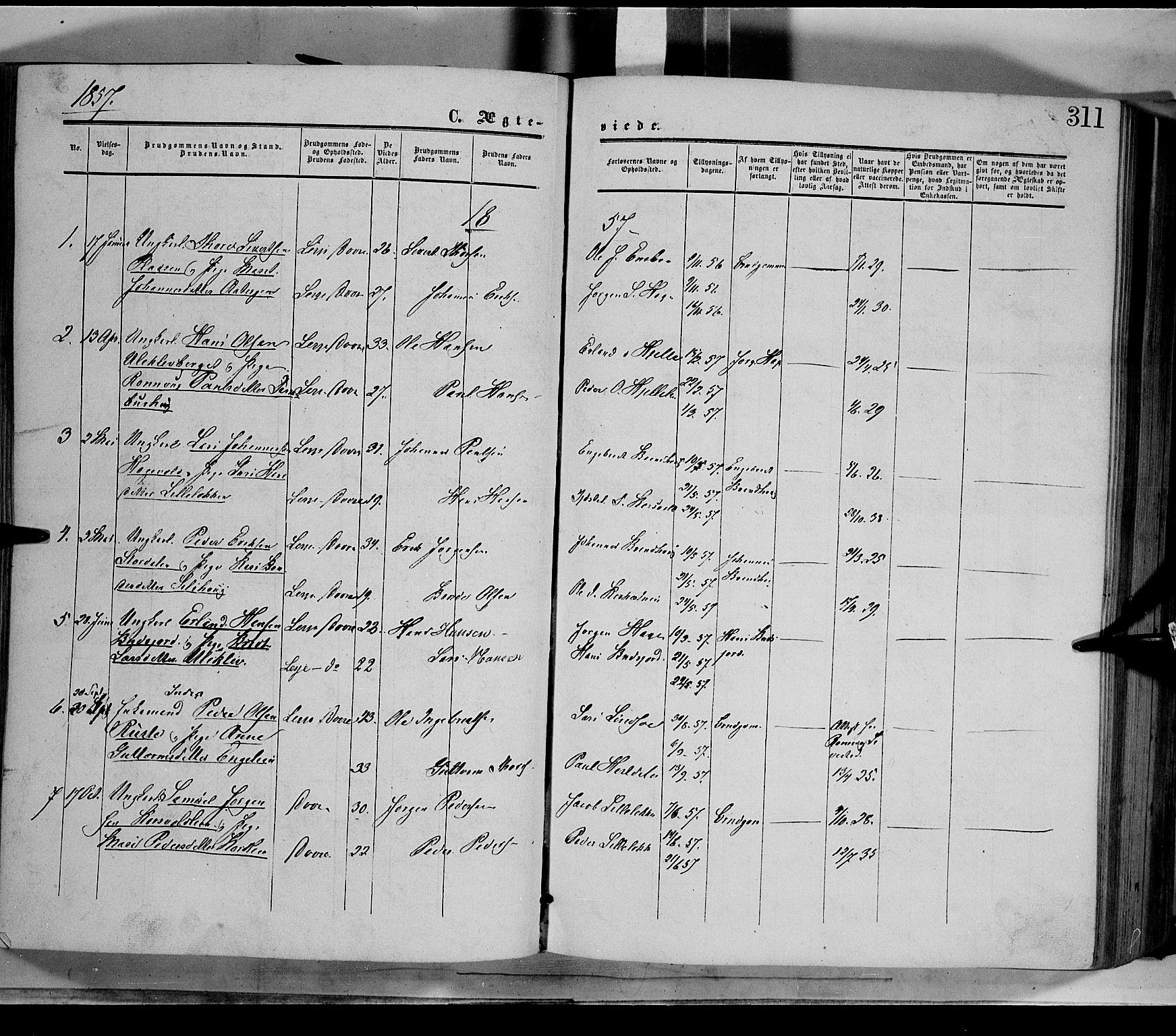 SAH, Dovre prestekontor, Parish register (official) no. 1, 1854-1878, p. 311