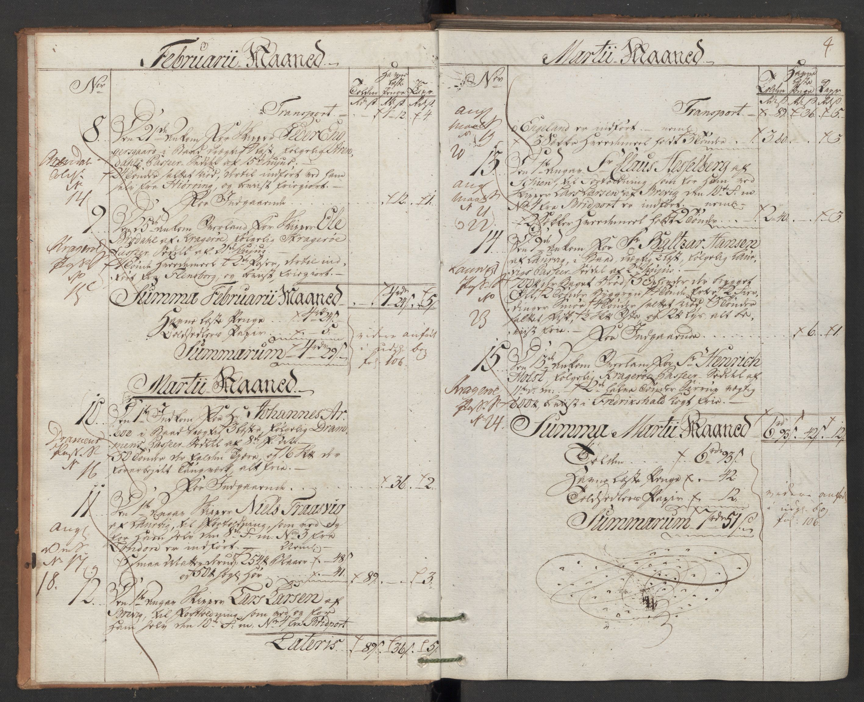 RA, Generaltollkammeret, tollregnskaper, R12/L0118: Tollregnskaper Langesund, 1786, p. 3b-4a