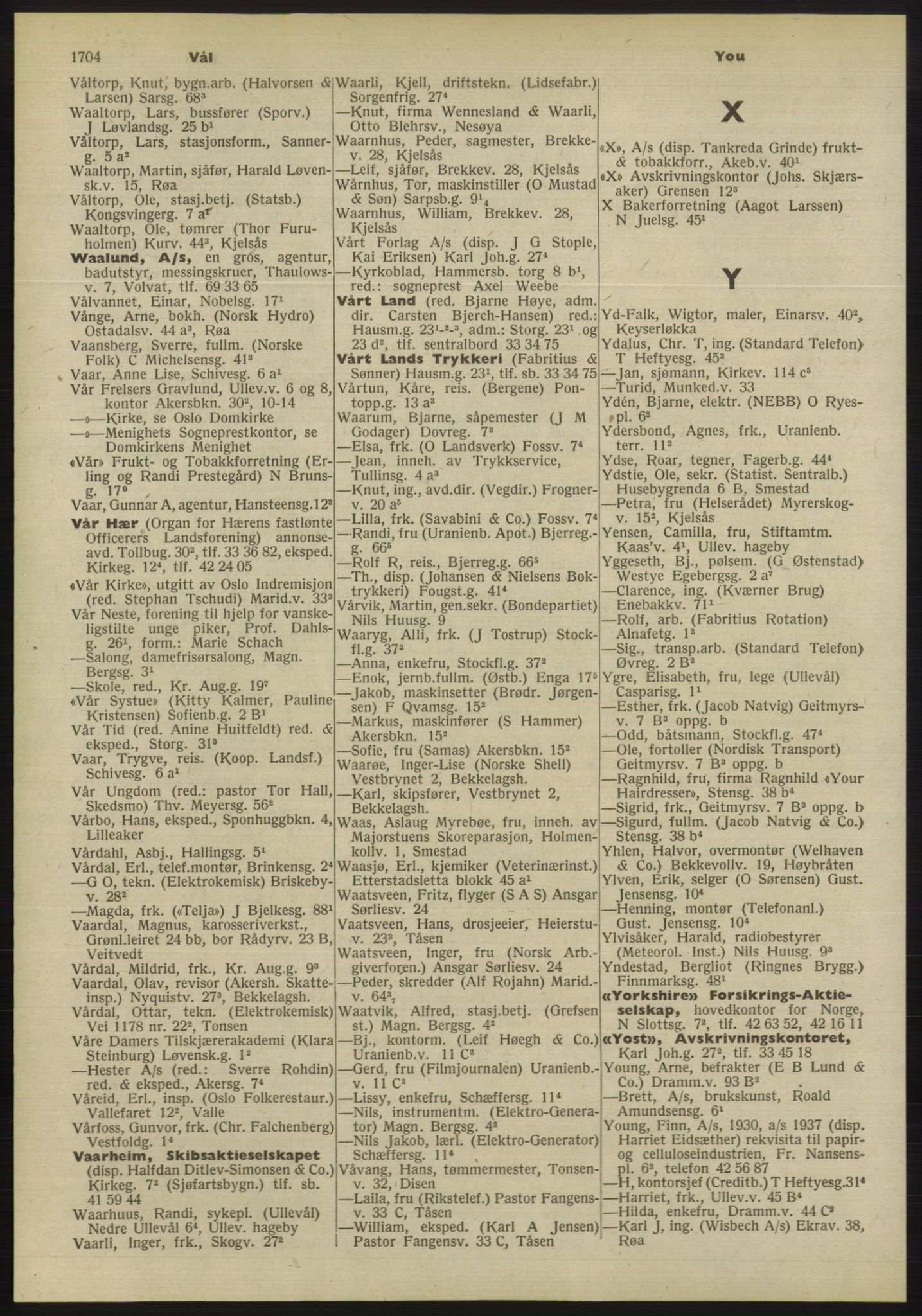 PUBL, Kristiania/Oslo adressebok, 1955, p. 1704