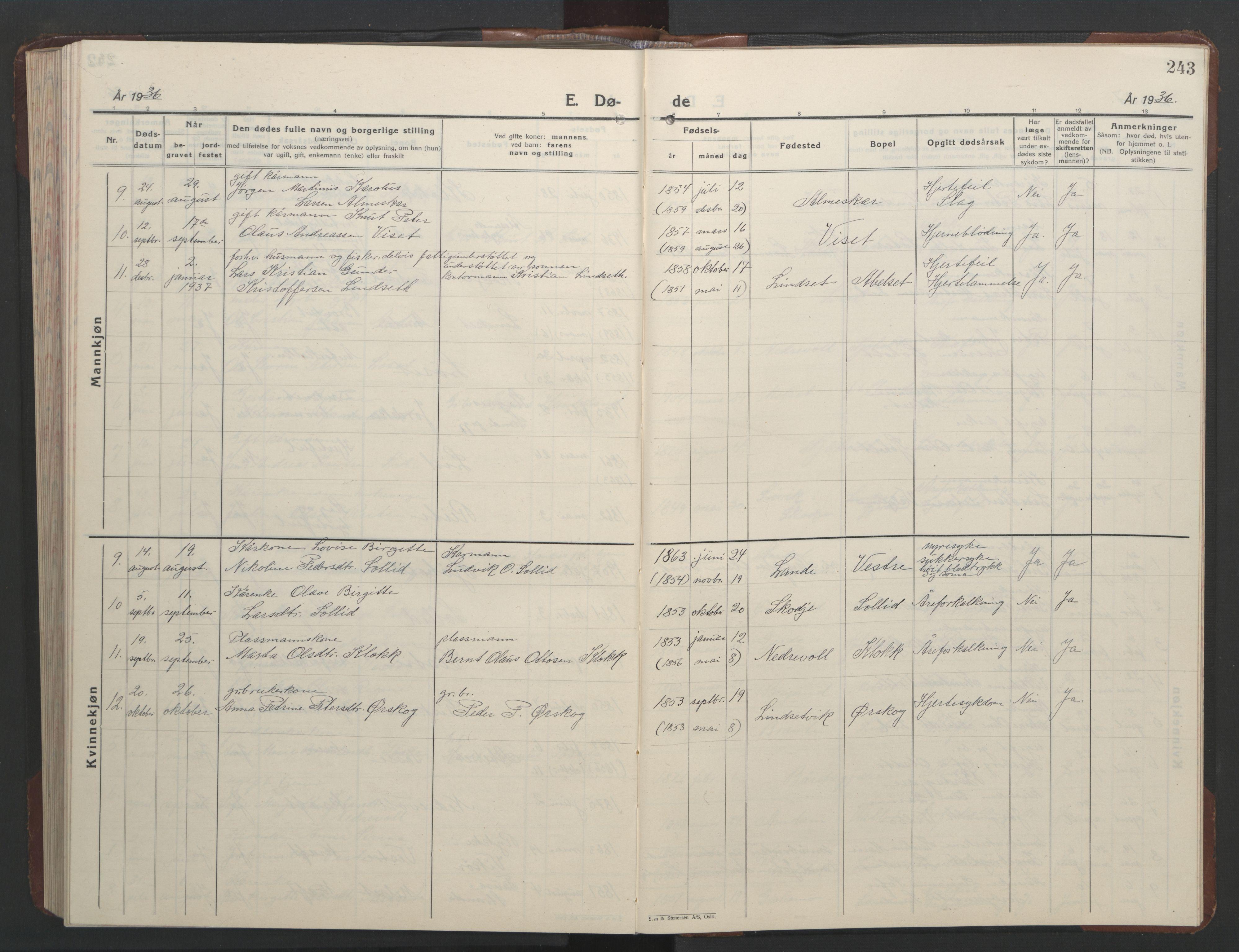 SAT, Ministerialprotokoller, klokkerbøker og fødselsregistre - Møre og Romsdal, 522/L0329: Parish register (copy) no. 522C08, 1926-1951, p. 243