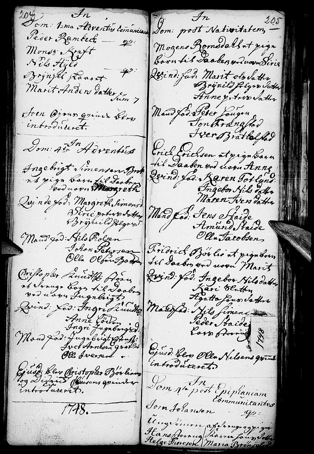 SAH, Kvikne prestekontor, Parish register (official) no. 1, 1740-1756, p. 204-205