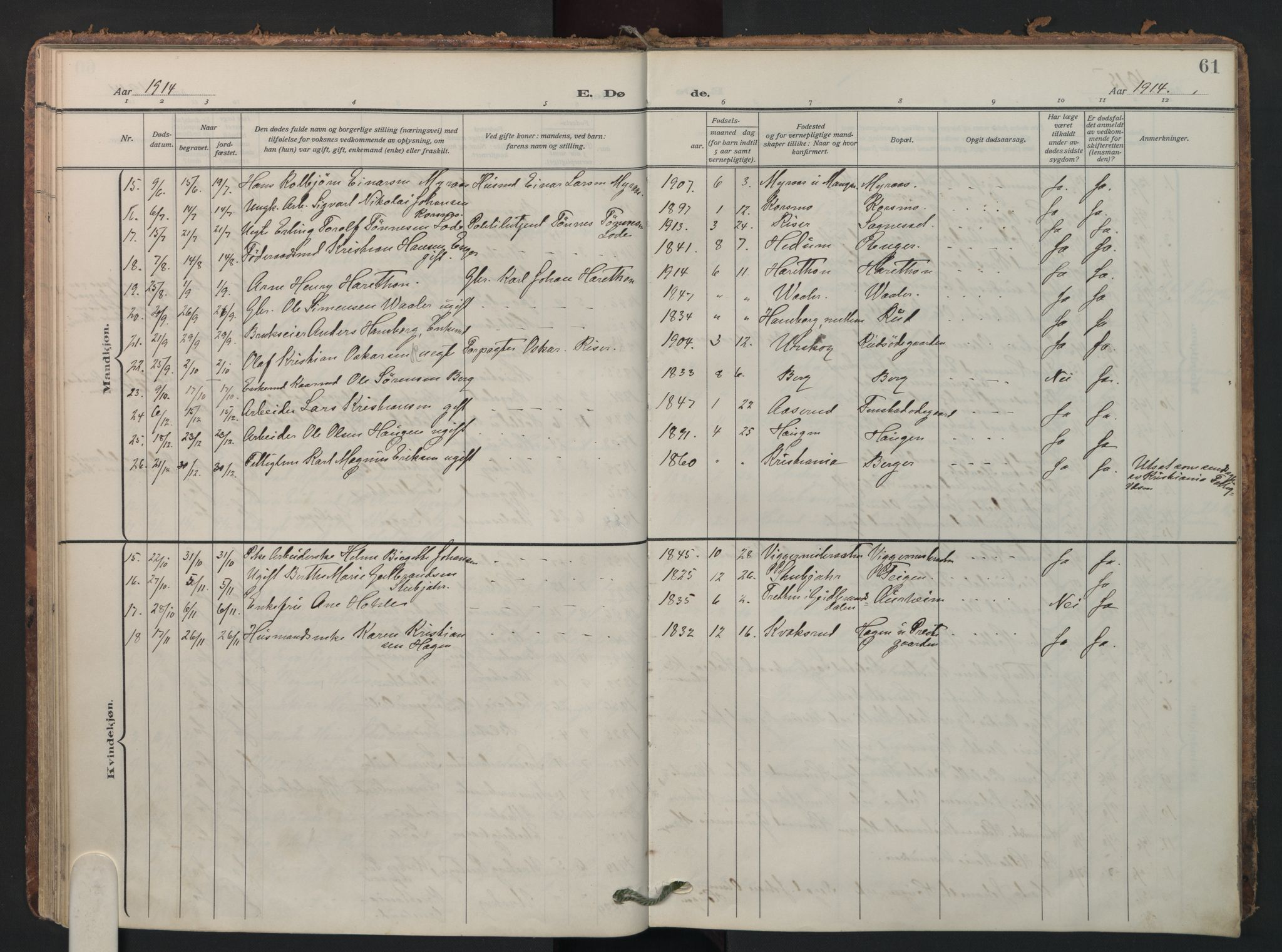 SAO, Aurskog prestekontor Kirkebøker, F/Fa/L0016: Parish register (official) no. I 16, 1910-1934, p. 61