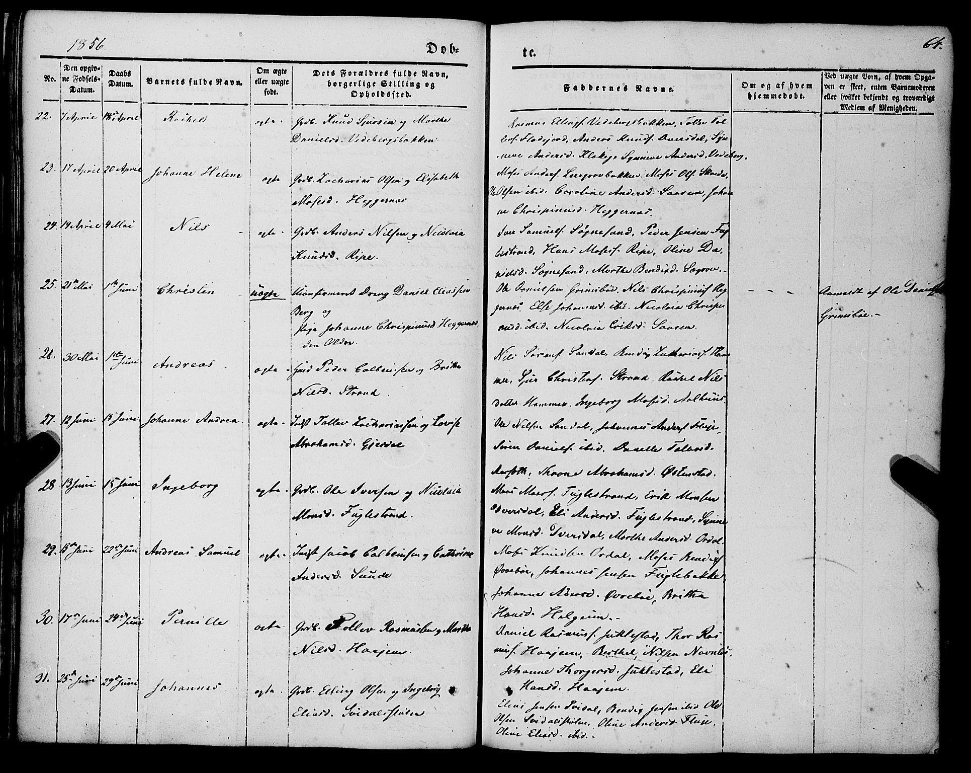 SAB, Jølster sokneprestembete, H/Haa/Haaa/L0010: Parish register (official) no. A 10, 1847-1865, p. 64