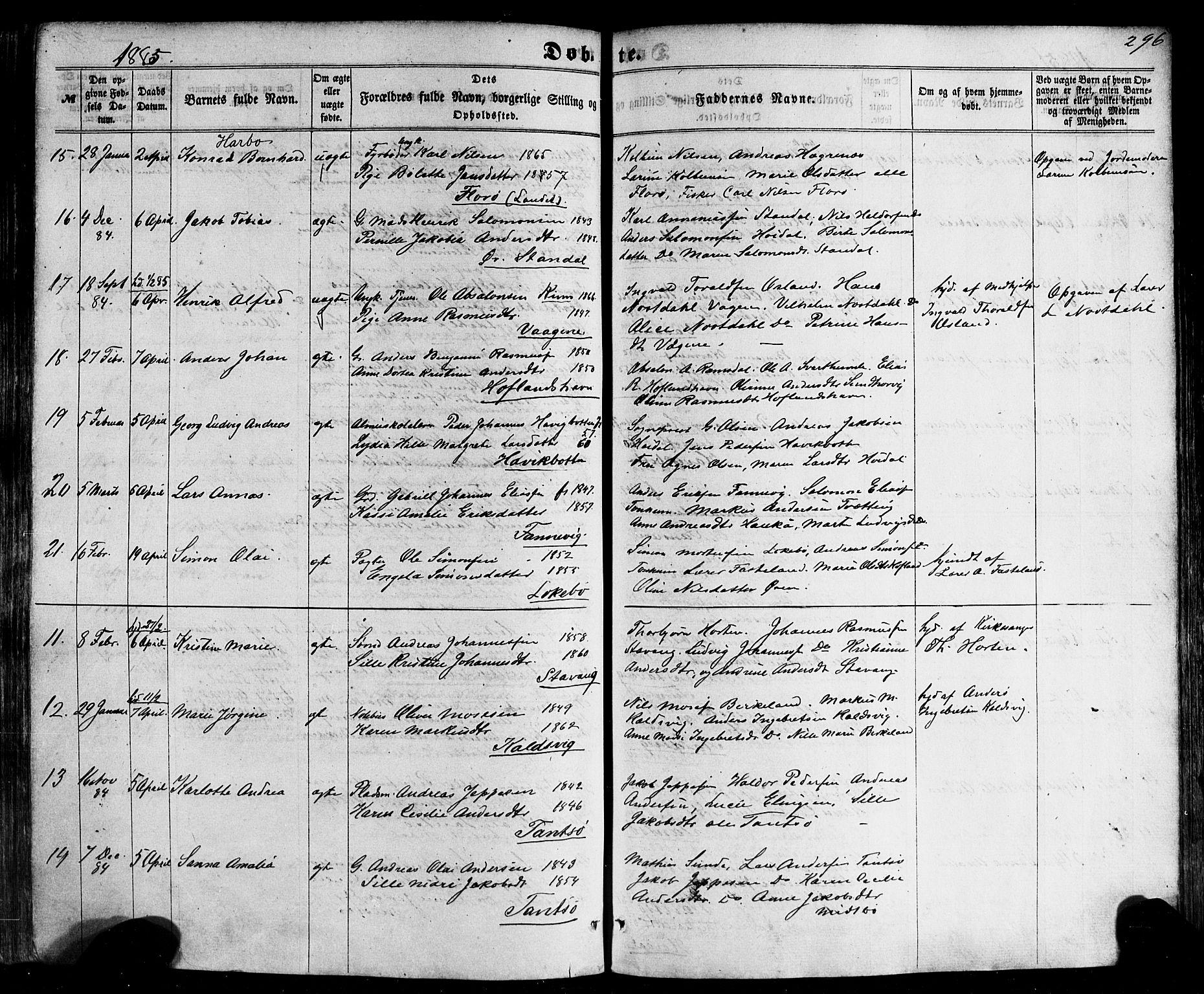 SAB, Kinn sokneprestembete, H/Haa/Haaa/L0006: Parish register (official) no. A 6, 1857-1885, p. 296