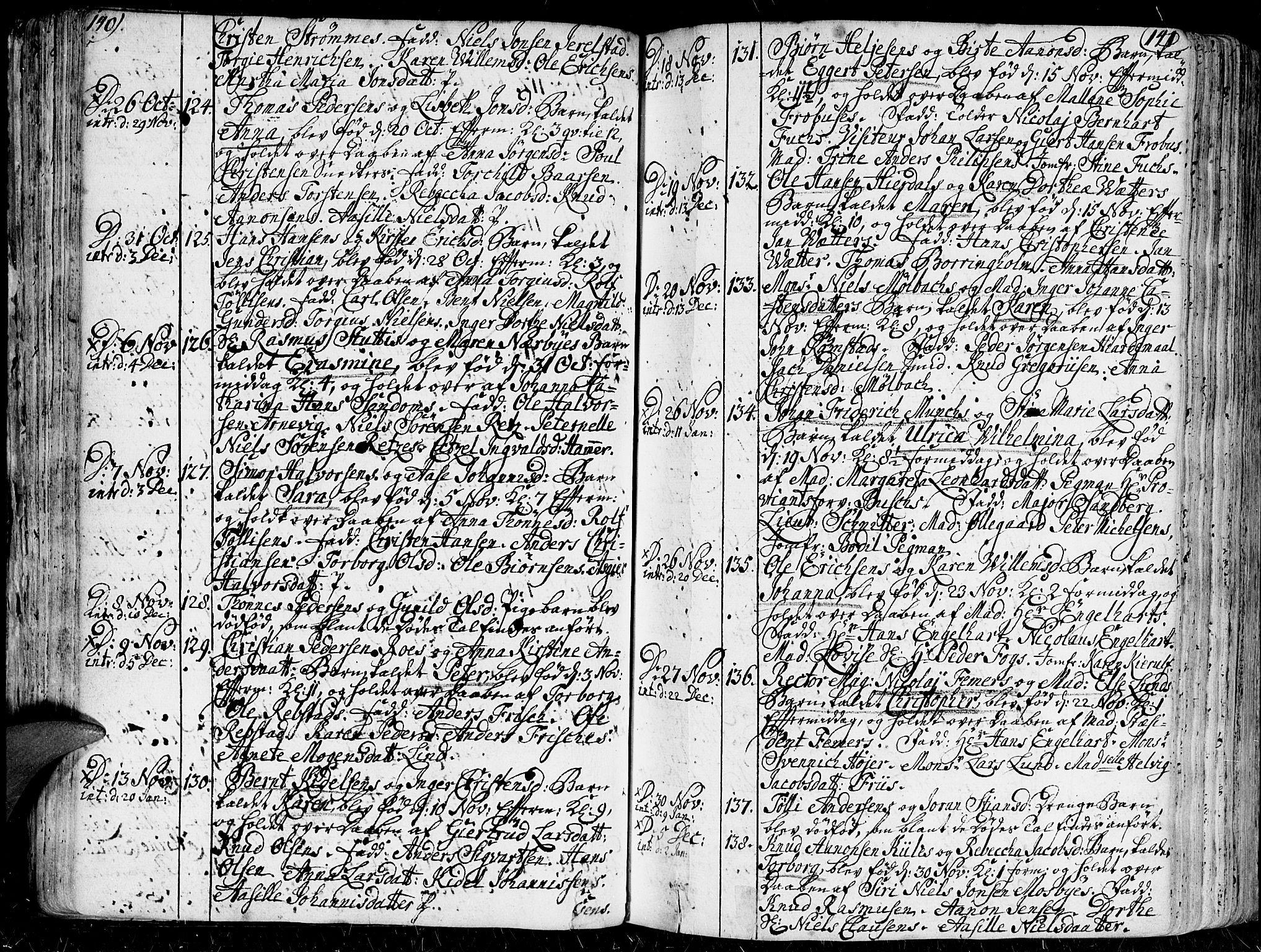 SAK, Kristiansand domprosti, F/Fa/L0001: Parish register (official) no. A 1, 1734-1793, p. 140-141
