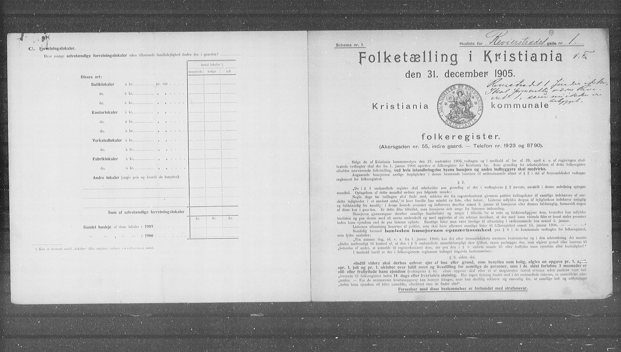 OBA, Municipal Census 1905 for Kristiania, 1905, p. 43444