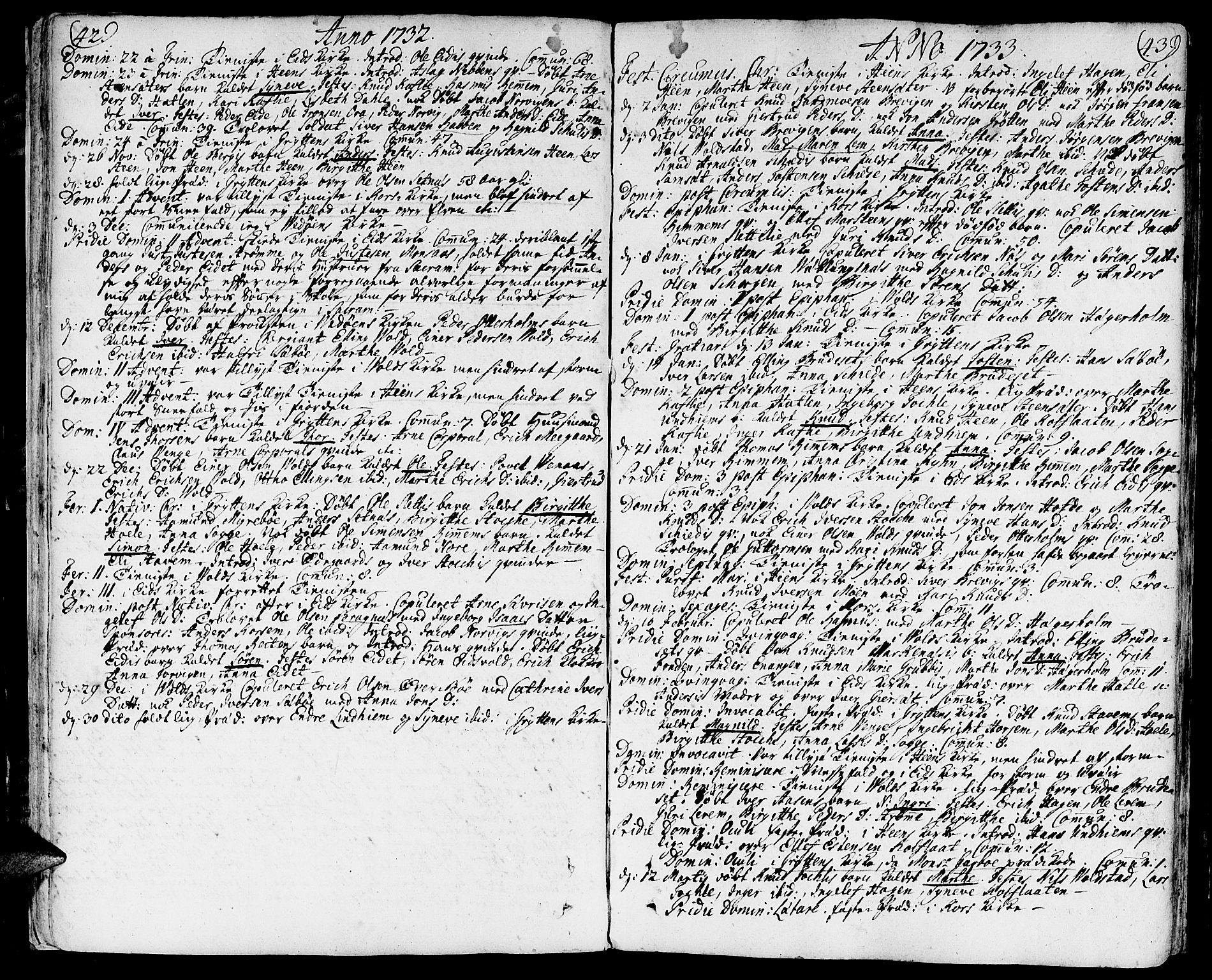 SAT, Ministerialprotokoller, klokkerbøker og fødselsregistre - Møre og Romsdal, 544/L0568: Parish register (official) no. 544A01, 1725-1763, p. 42-43